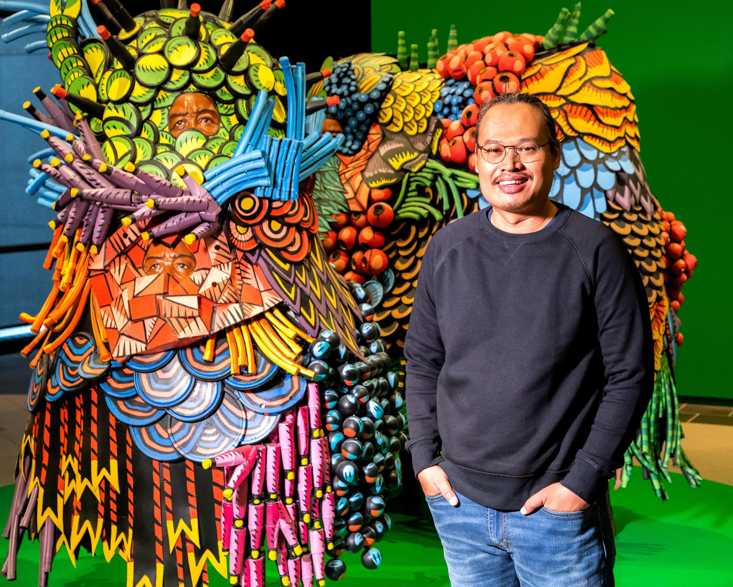 Artist  Eko Nugroho  with  Carnival trap   2  (2018)