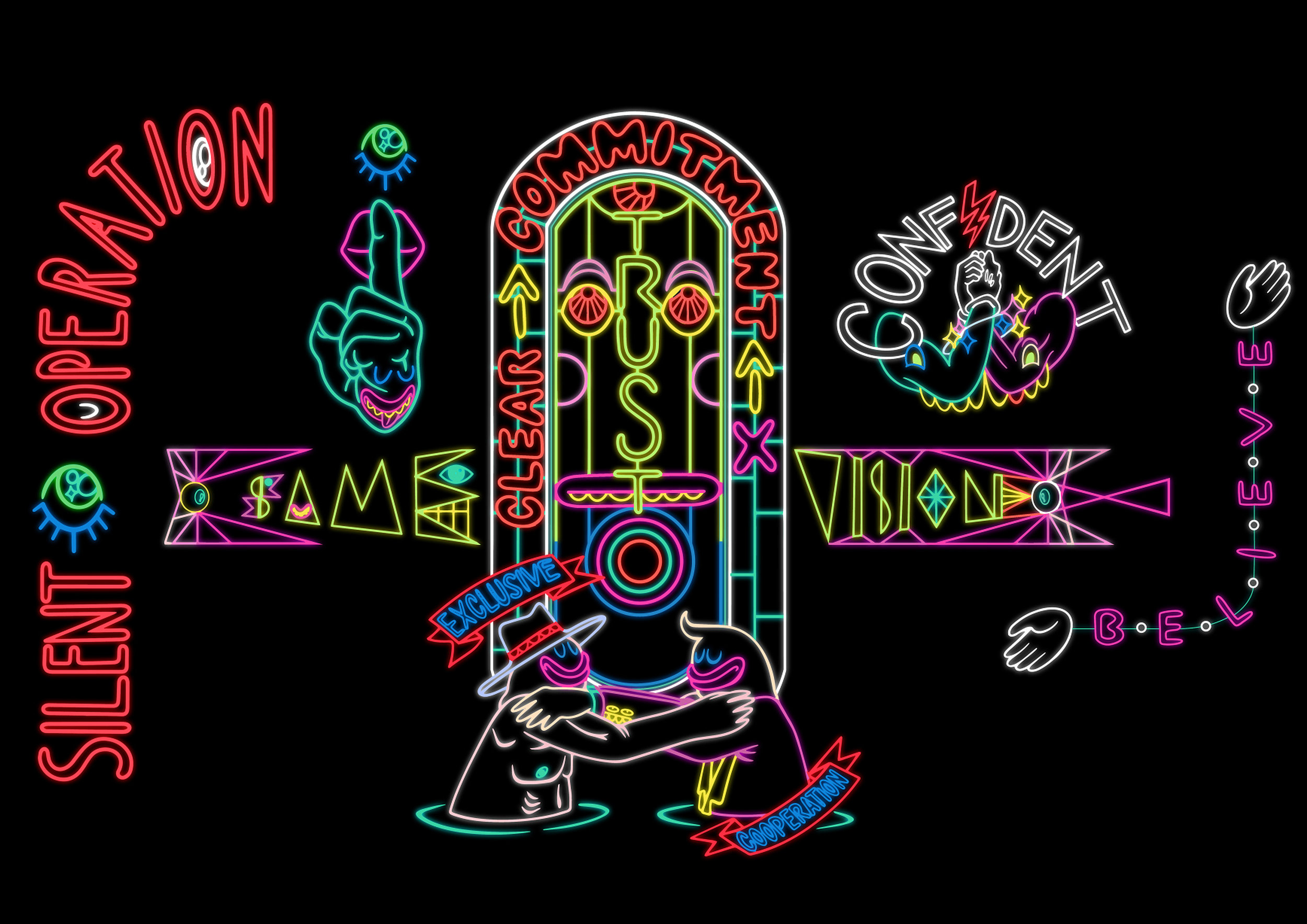 Uji 'Hahan' Handoko Eko Saputro & Adi 'Uma Gumma' Kusuma   Silent operation: Sign study based on the formula of contemporary (visual) art  2018-19 installation comprising neon wall-works and interactive game application  Commissioned and purchased 2019