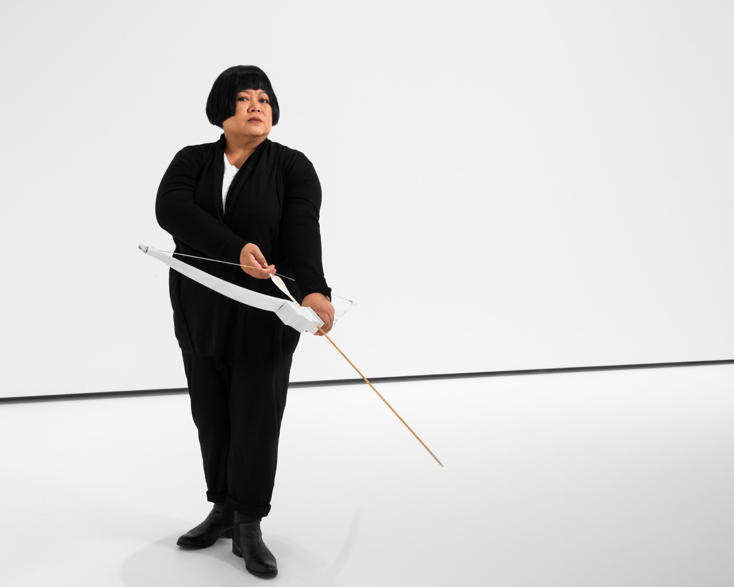 Melati Suryodarmo    Transaction of hollows  2016 durational performance including bow, 800 arrows and costume; single-channel video: 14:45 minutes, colour, sound  Purchased 2019 National Gallery of Australia © Melati Suryodarmo