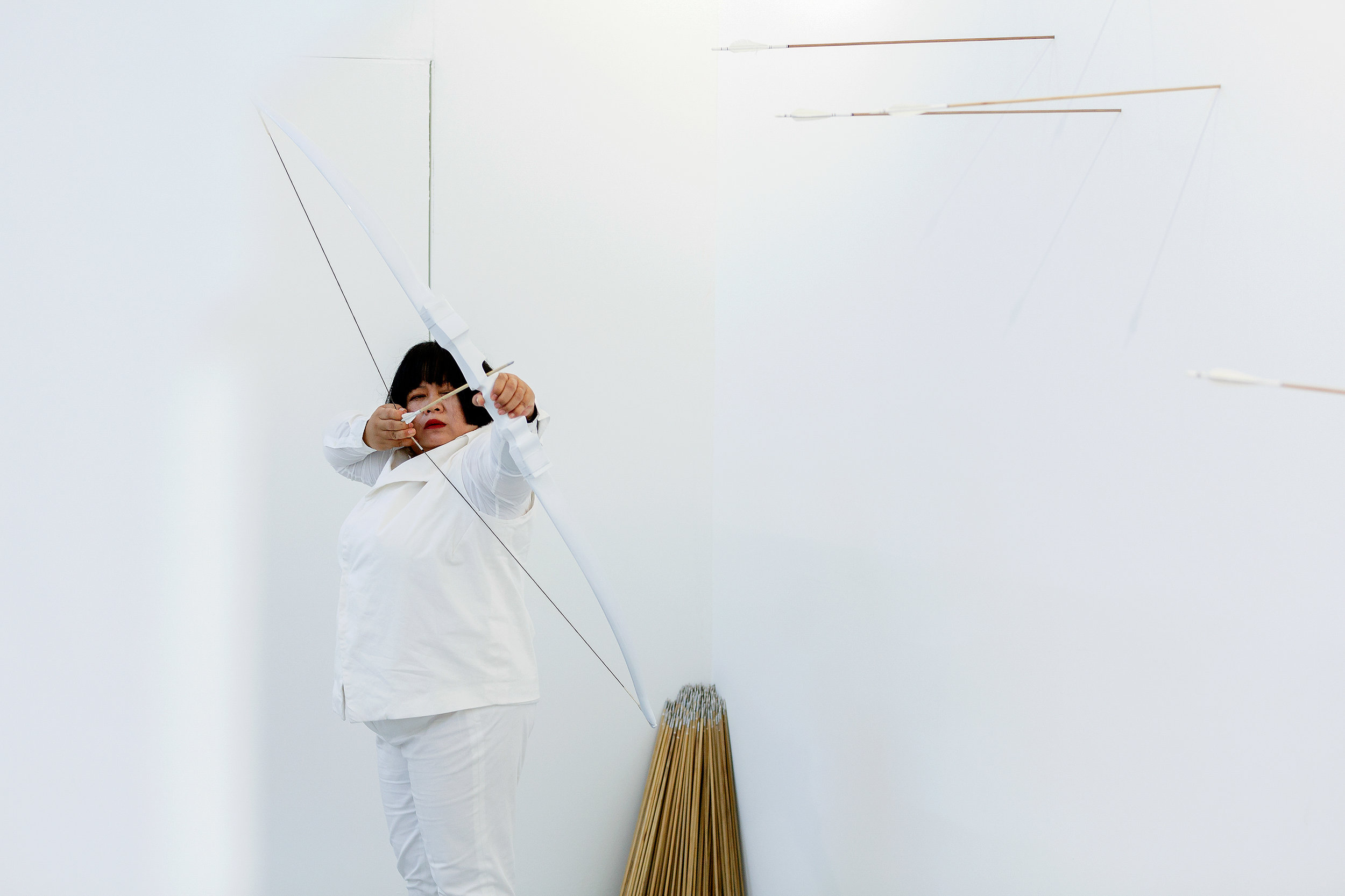 Transaction of hollows  2016 durational performance including bow, 800 arrows and costume single-channel video: 14:45 minutes, colour, sound National Gallery of Australia, Canberra Purchased 2019 First performed at and produced by Lilith Performance Studio, Malmö, Sweden (19 – 22 October 2016), © Melati Suryodarmo