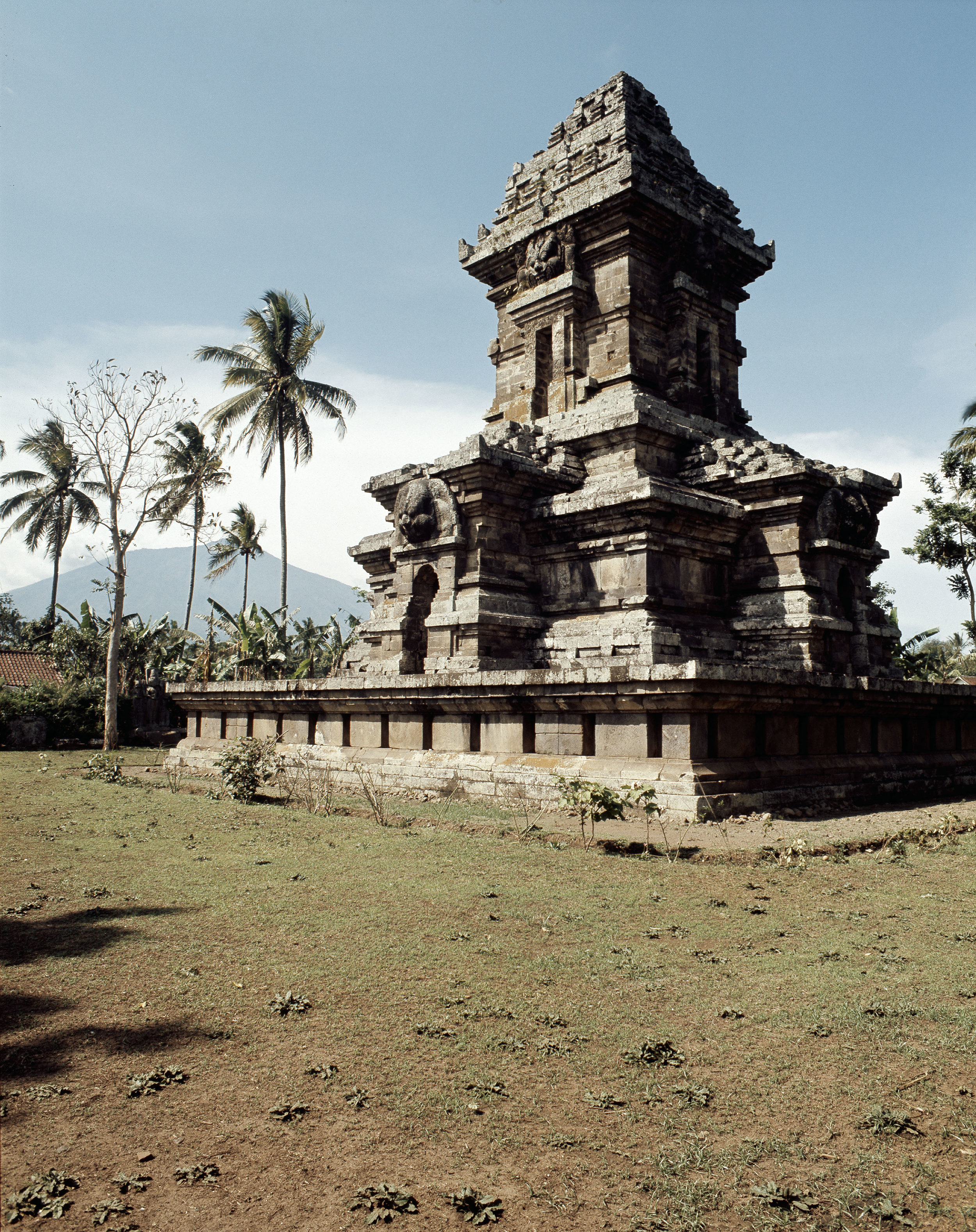 The temple complex at Lara Jonggrang consists of three main sanctuaries dedicated to Shiva, Brahma and Vishnu and three minor ones dedicated to particular forms of Shiva and Shiva's bull mount, Nandi. Originally there were 232 temples. The whole complex takes the form of the Mount Meru, the cosmic mountain. Country of Origin: Java, Indonesia. Culture: Hindu. Date/Period: c.900-930 AD. Place of Origin: Prambanan. Credit Line: Werner Forman Archive.