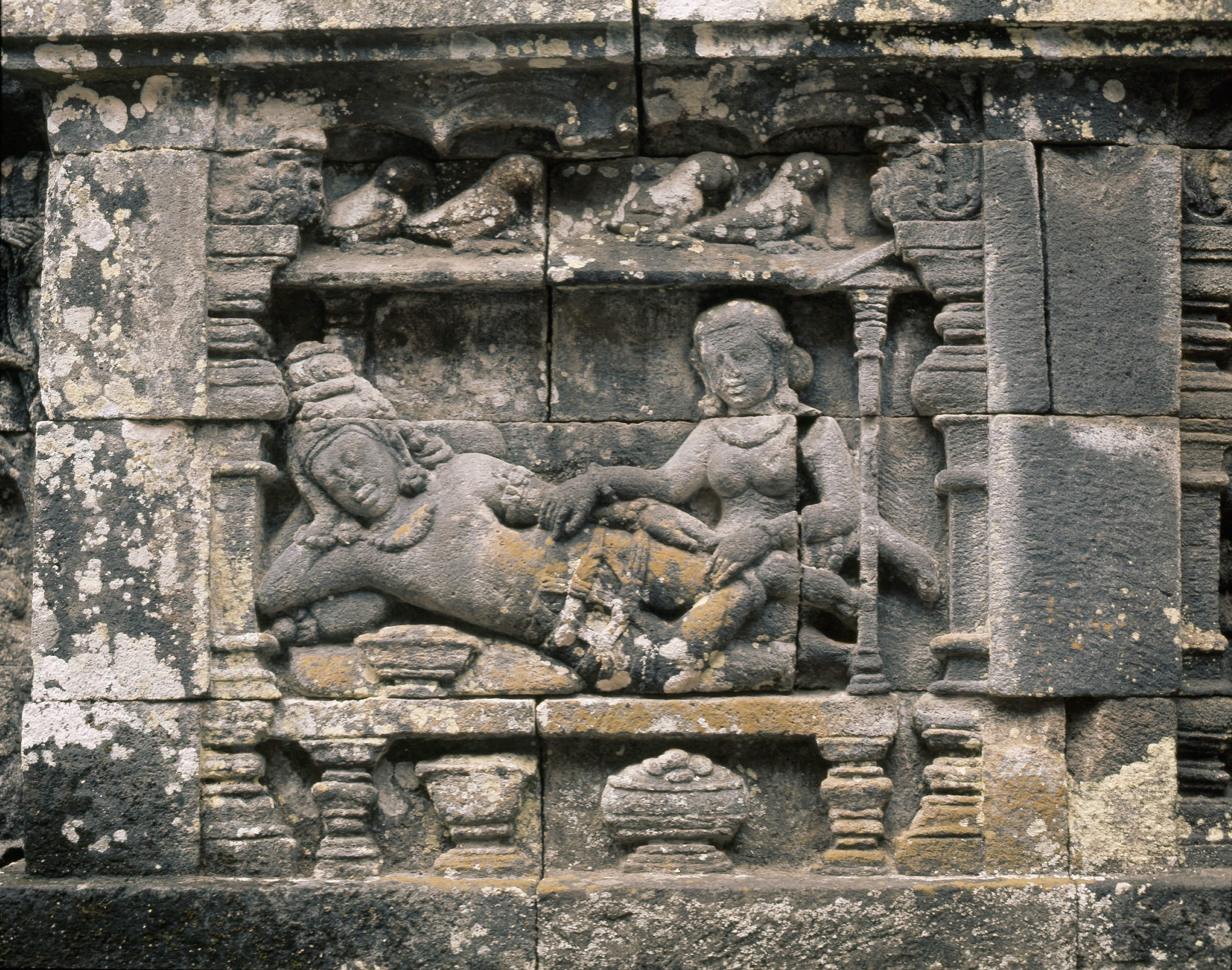 The reliefs on the terraces of Borobudur depict scenes from the life of Buddha. The Palace of Queen Maya. Country of Origin: Indonesia. Culture: Buddhist. Date/Period: 8th C. Place of Origin: Central Java. Credit Line: Werner Forman Archive.