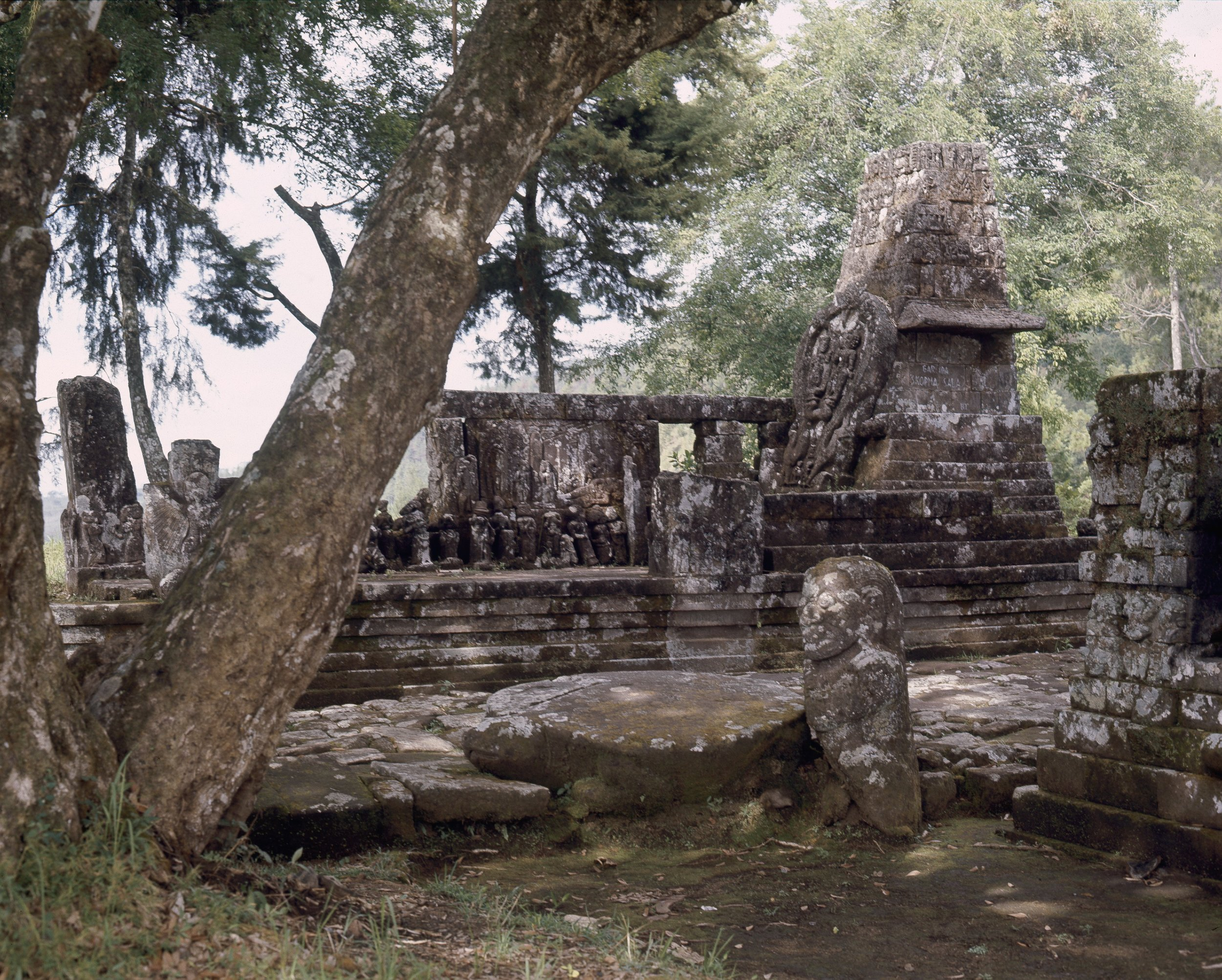 View of Candi Sukuh. It was a sacred place for the worship of ancestors, nature spirits and fertility cults. Country of Origin: Indonesia. Culture: Hindu. Date/Period: c 1437 AD, Majapahit Kingdom. Place of Origin: Central Java, Western slopes of Mount Lawu. Credit Line: Werner Forman Archive.