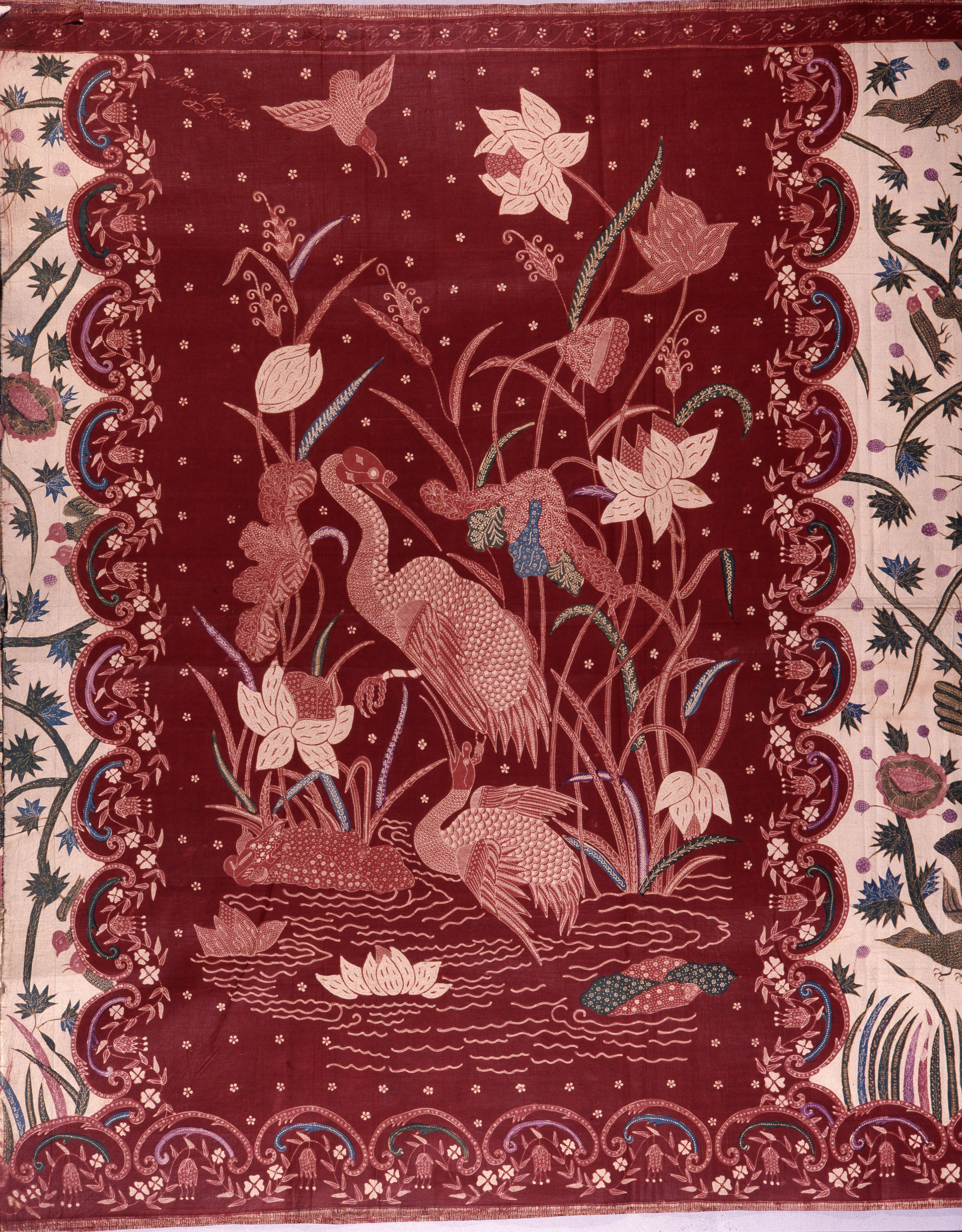 A detail of the design on a batik sarong which incorporates herons and other birds, flowers and water plants. Country of Origin: Indonesia. Culture: Javanese. Date/Period: c.1920. Place of Origin: north coast of Java. Material Size: Glazed cotton. Credit Line: Werner Forman Archive/ British Museum, London.
