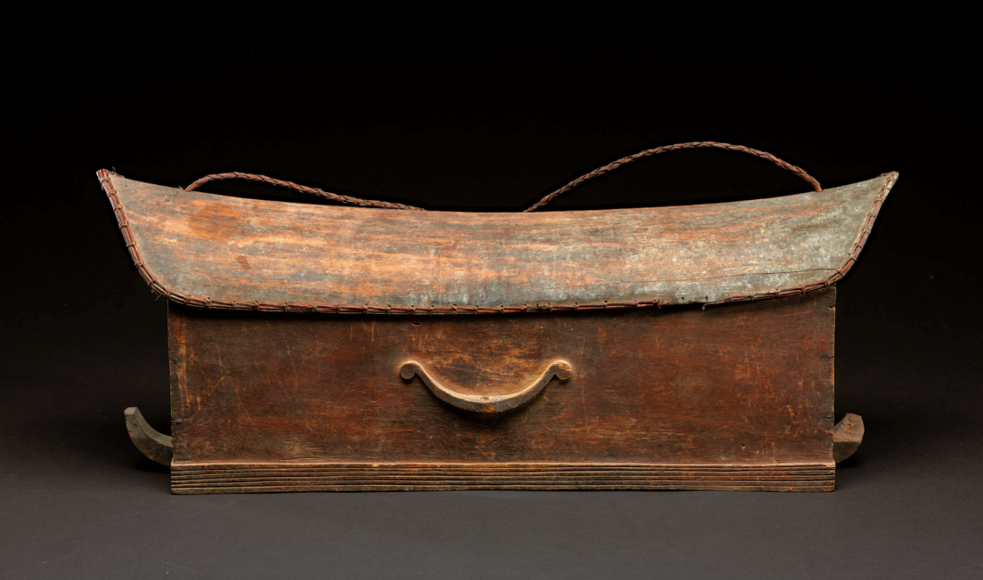 Incised and Relief Patterned Shaman's Box with Suspension Strap and a Saddleback Cover with Rattan Binding | Salipa.png