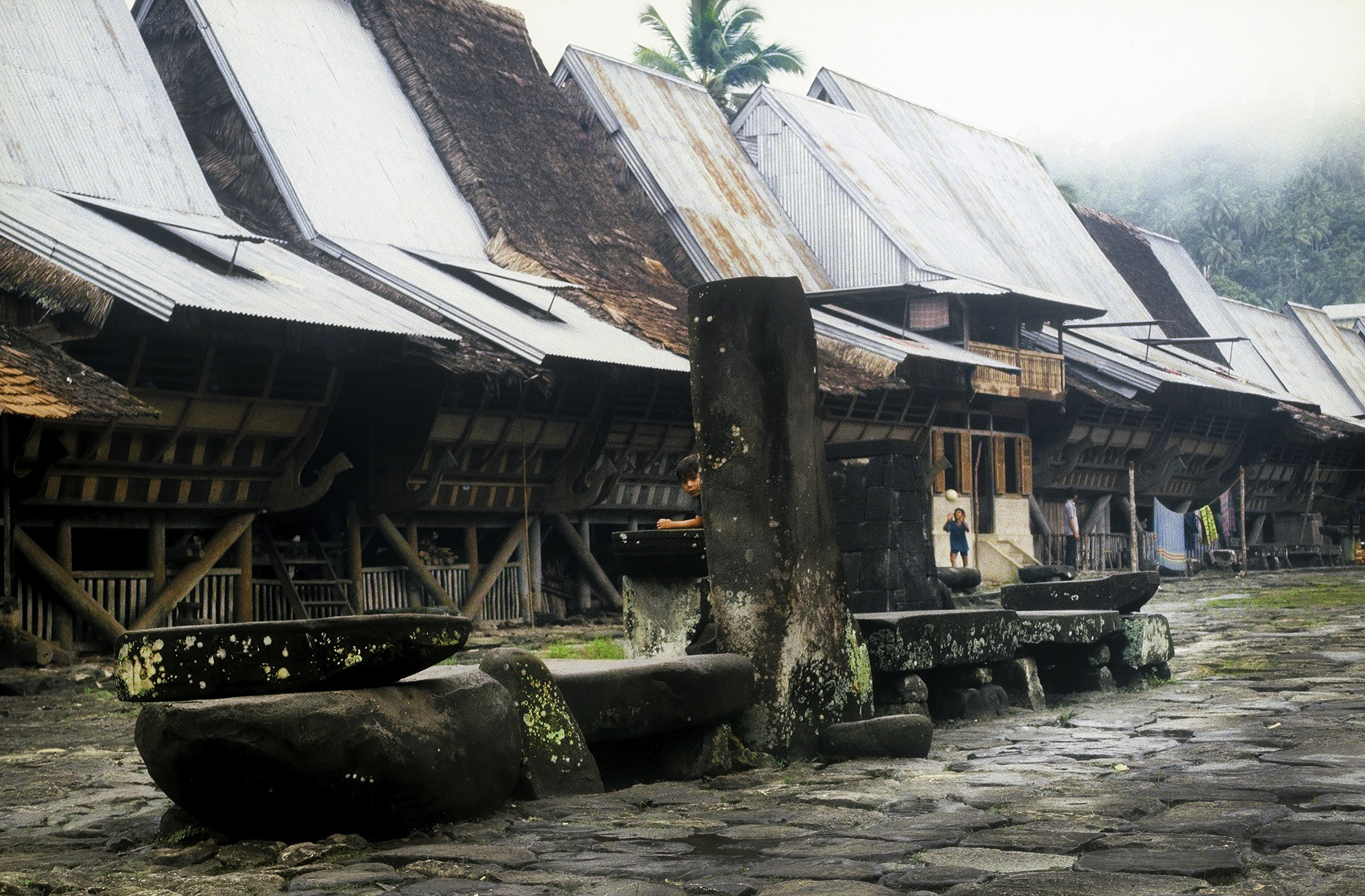 Village Hilisimaetano, South Nias. (Photograph Maggie de Moor, 1985)