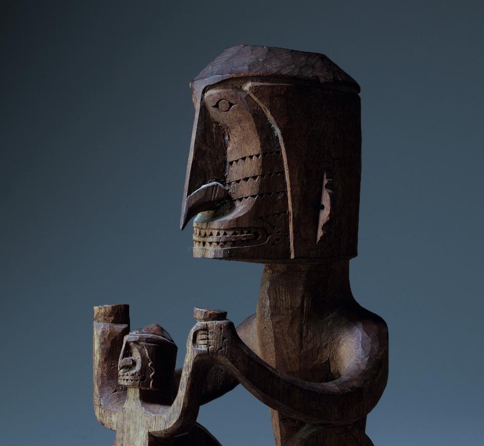 "Korwar, Biak Island, Cenderawasih Bay, Western New Guinea. Wood. H: 33.5 cm. Private collection, The Netherlands. Photo © Jan van Esch. Its label reads: ""Korwar Z. Kust Biak."""