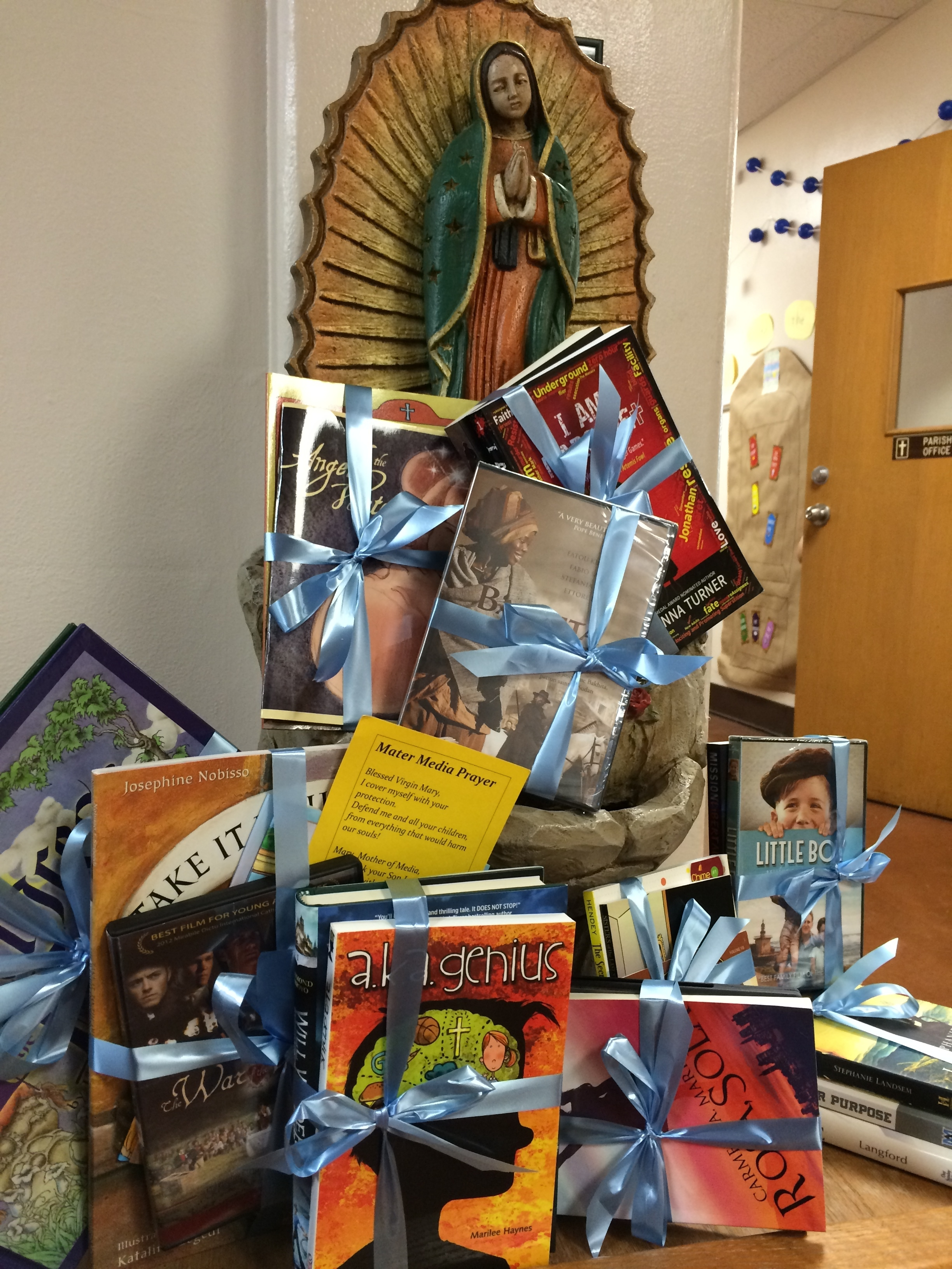 A donation of virtue-rich books and movies to Our Lady of Guadeloupe School in FERGUSON, MO is just one of the ways we've been spreading the word about VIRTUE WORKS MEDIA to Catholic schools and educators.