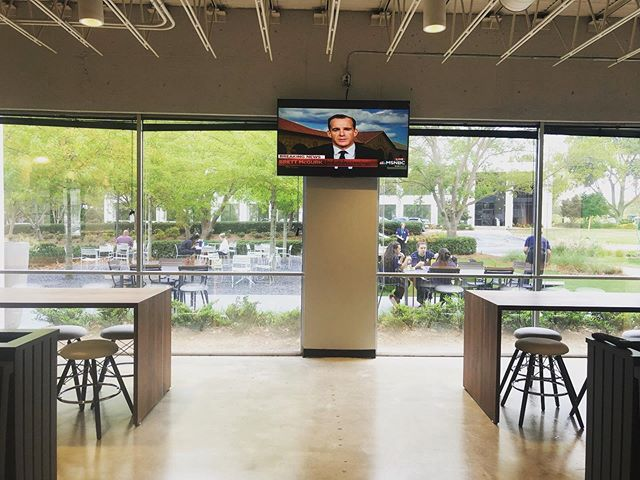 New TV up in the Gather area! Relax while enjoying lunch or a quick break 😌  #districtatchamblee #lunchbreak