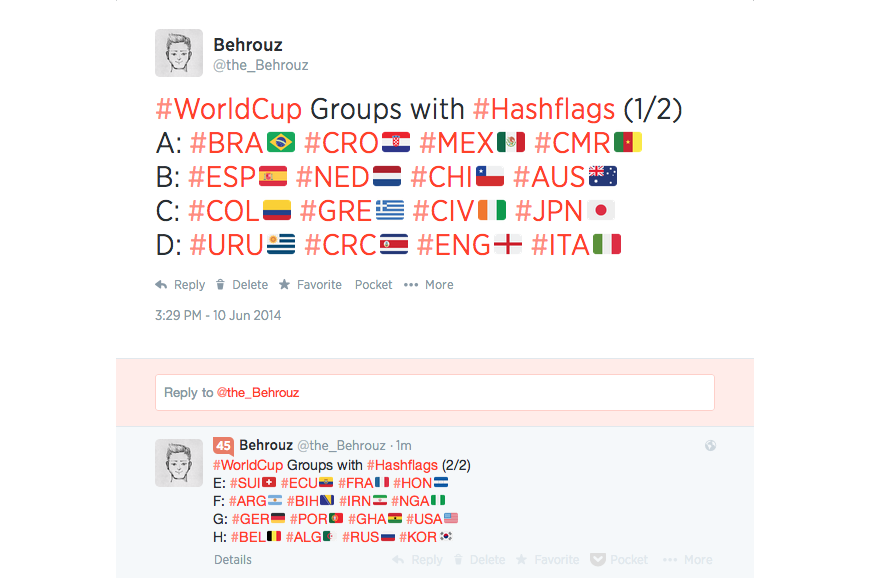 Twitter Reintroduces Hashflags and other features for 2014 Brazil World Cup