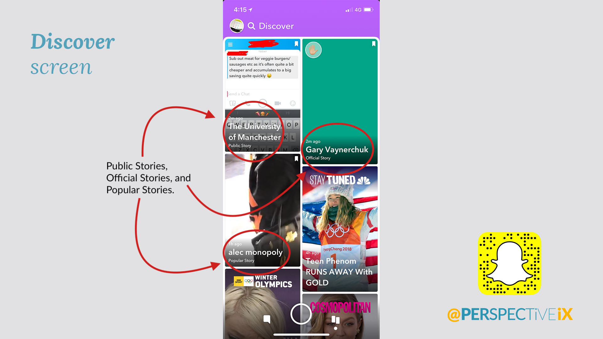Snapchat Discover Screen - iX Snapchat Guide - Perspective IX