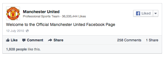 Manchester United's First Post on Facebook
