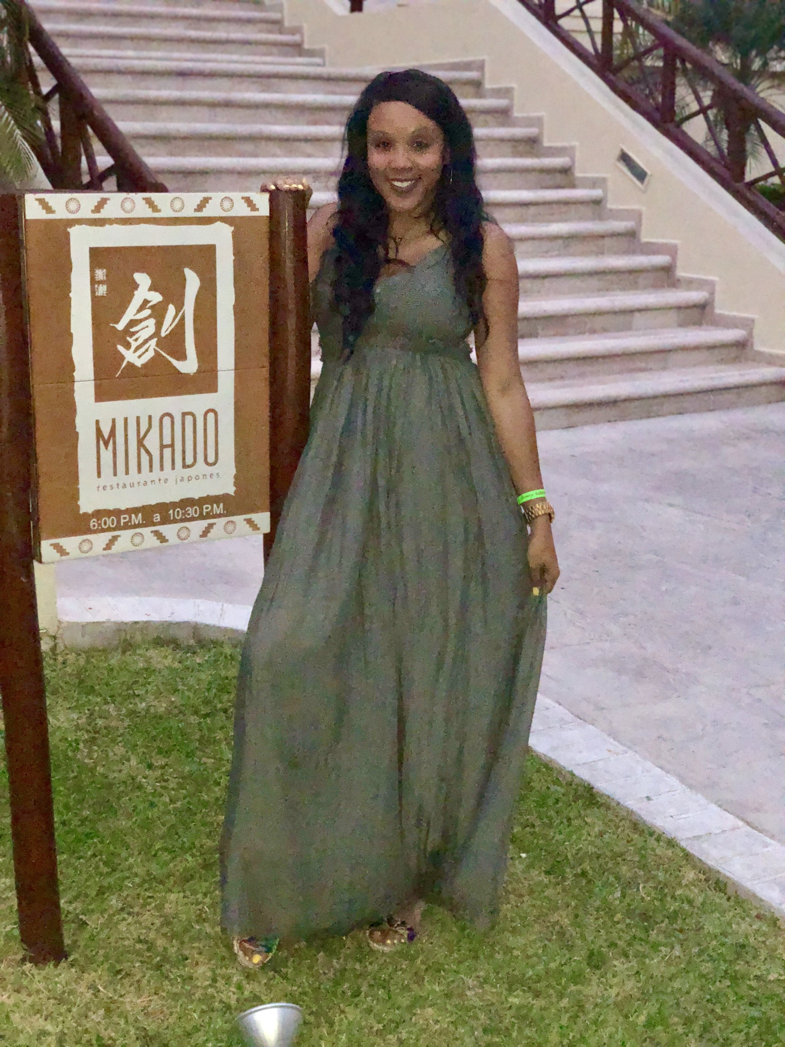 "Dinner @ Mikado in a summer dress called ""Ancient Rome Dress"" and right now it is currently sold out from  Fashion Nova."