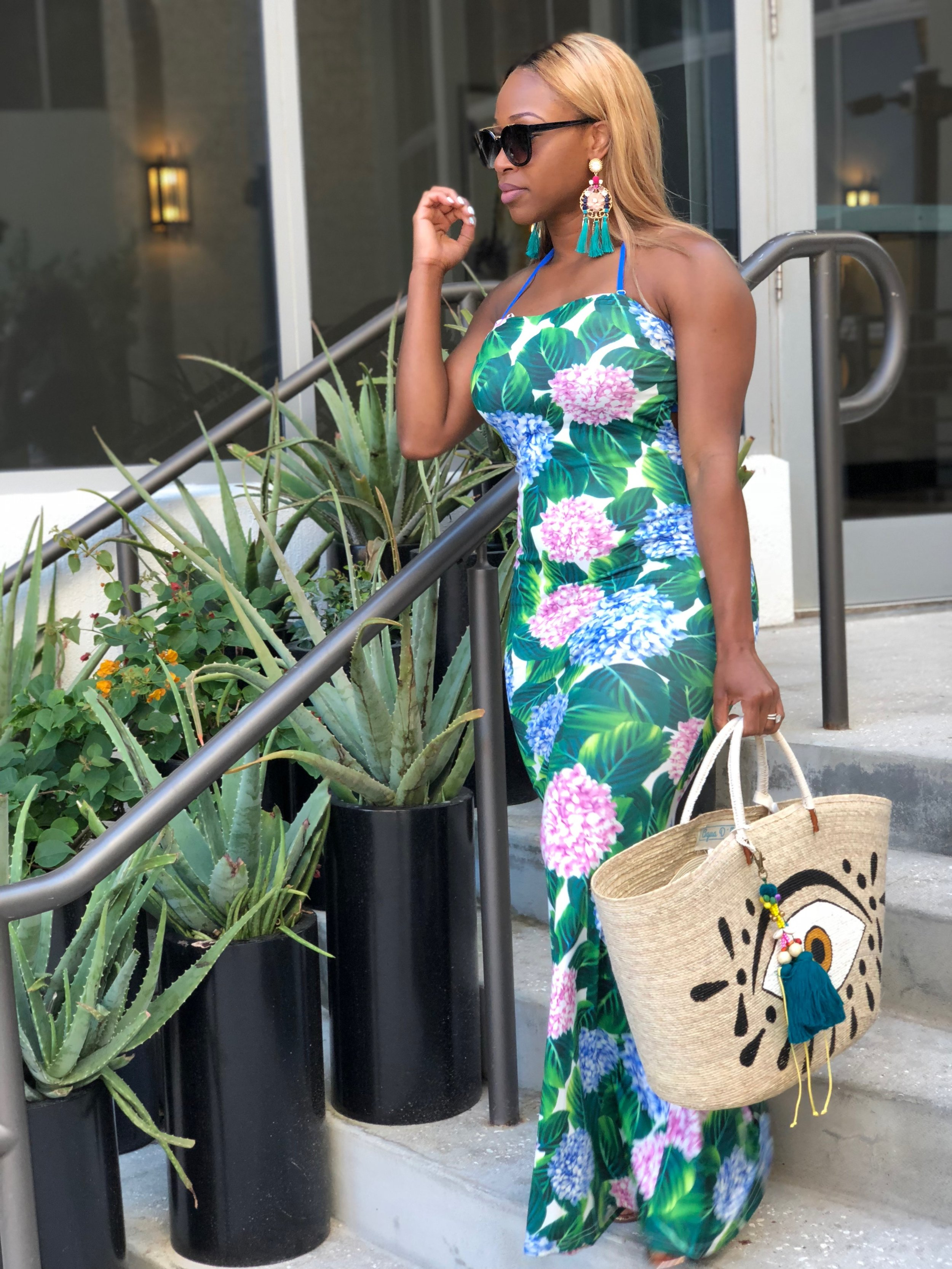 Location: Nobu Hotel Miami  Dress: Gitionline  Earrings: Also accessories  Sunglasses: Boohoo  Beach Bag: Aqua Dumar Boutique (inside Nobu Hotel Miami)