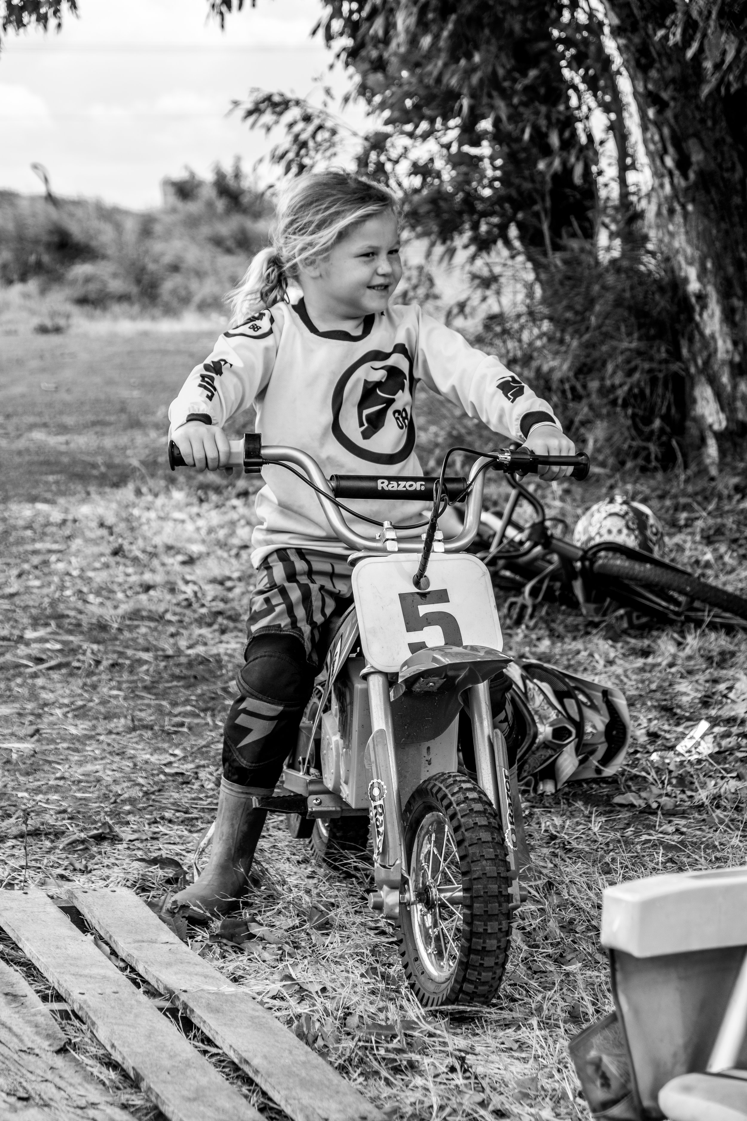 dirtbikes in black and white