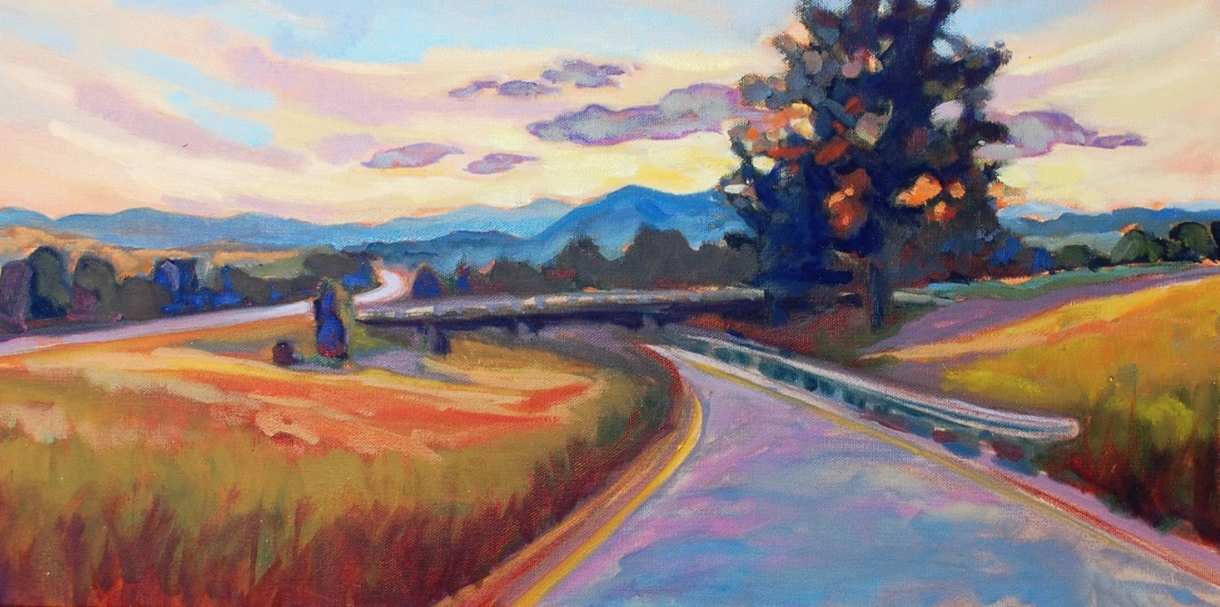 "SOLD Drive to Asheville 18"" x 24"" oil on canvas"