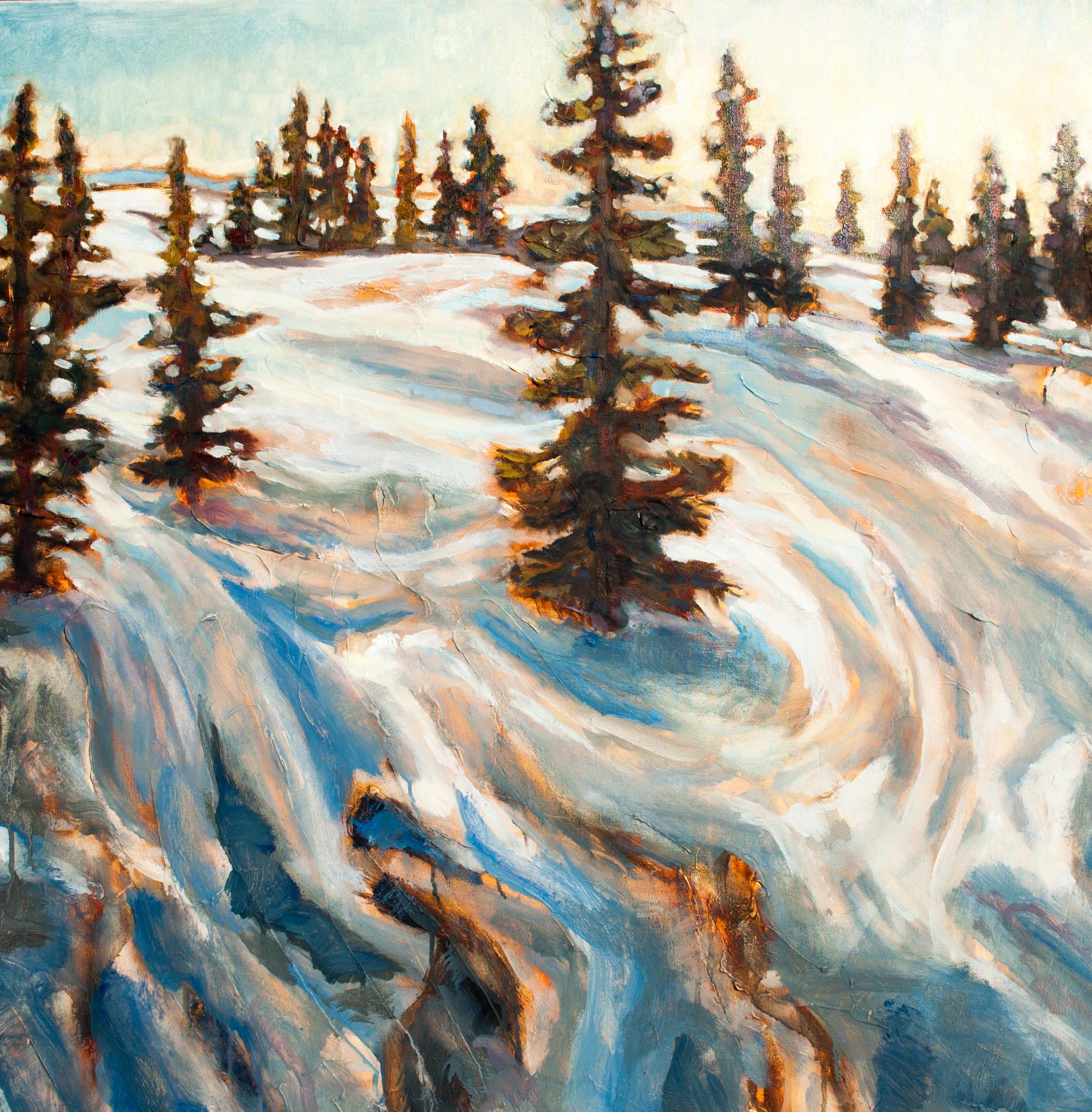 "Winter Adventure 36"" x 36"" oil on canvas"