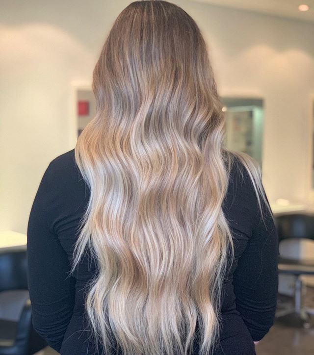 Was a pleasure to treat our client Krista to a beautiful extra long hand painted balayage and beach waves