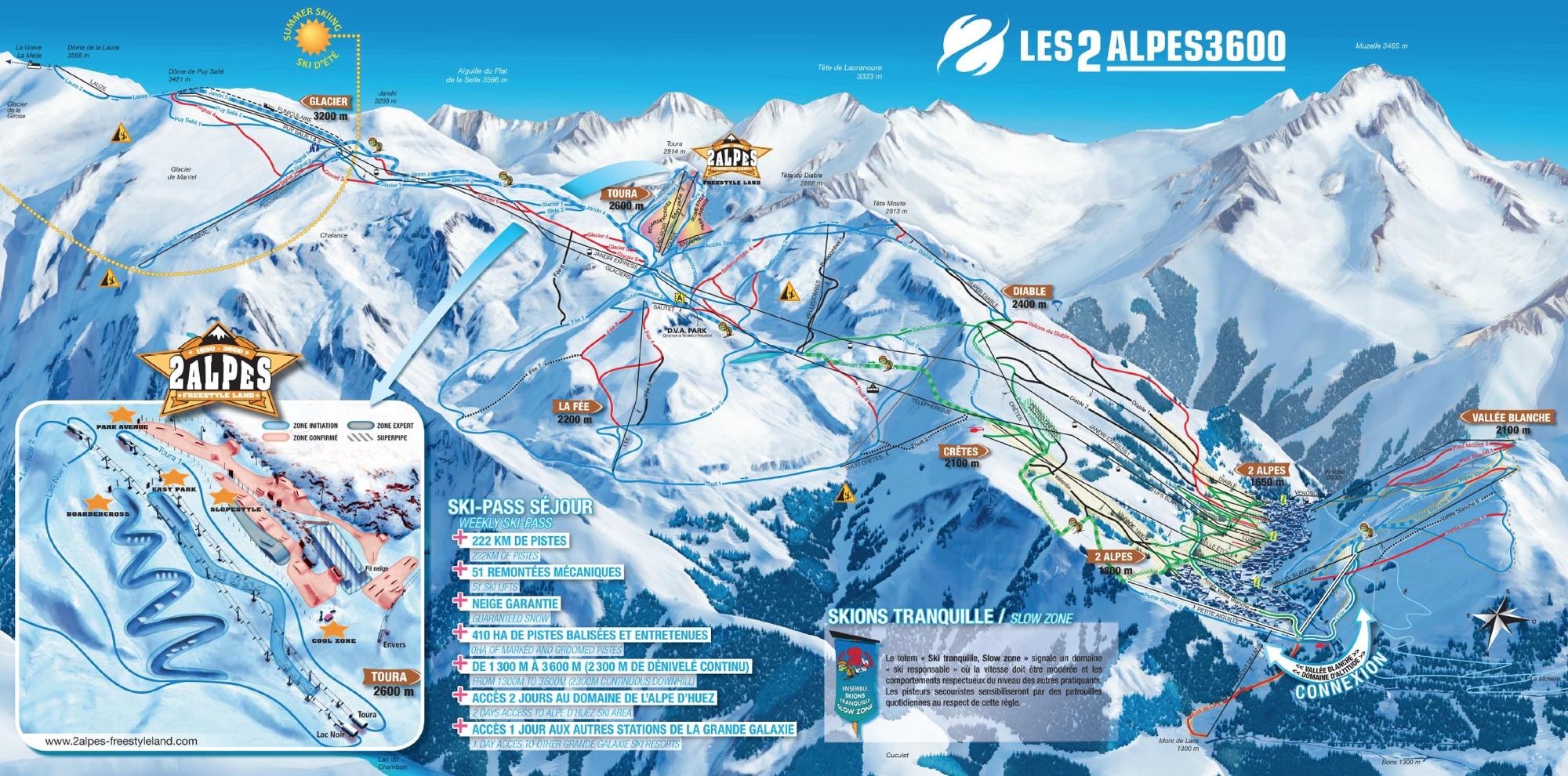 De kaart van het skigebied van Les Deux Alpes