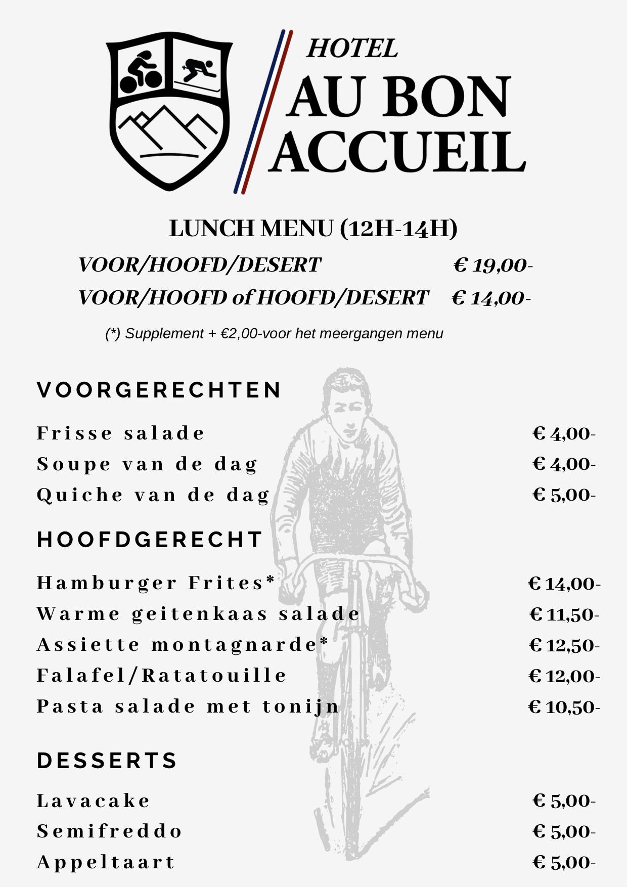Onze lunchkaart van 12u tot 14u 's middags