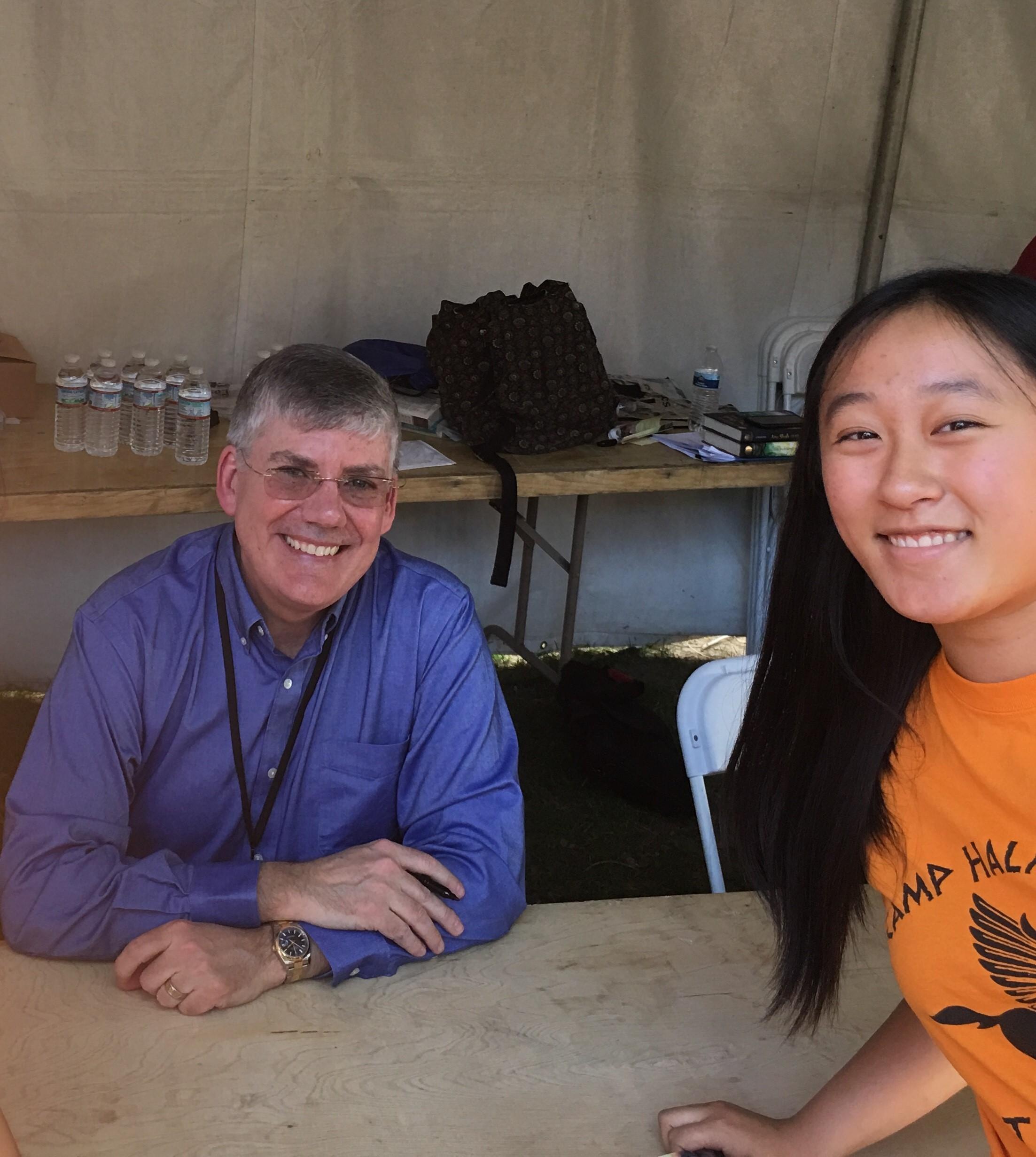 """Julia meeting author Rick Riordan her """"hero"""" in April, 2018"""