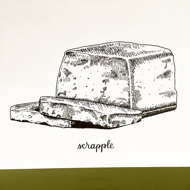 Brand new listing on Etsy: it's scrapple! I bet you never knew you wanted an illustrated print of this breakfast meat, but you do now! This continues my #PhillyPhoods series.