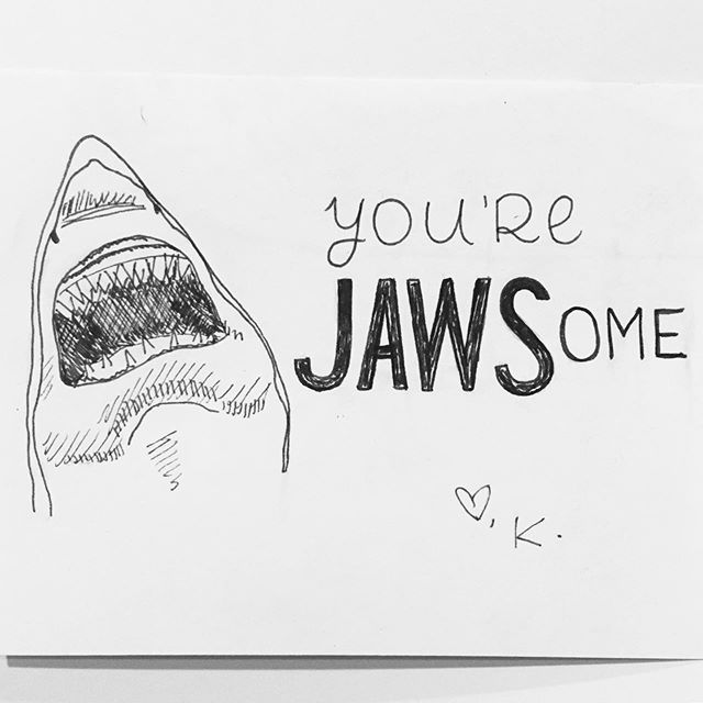 I drew a little shark doodle for Greg tonight. Maybe a future card? #Shark #Jaws #badpun