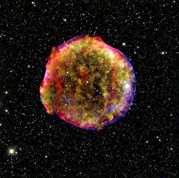 This is the remnant of a supernova.    http://en.wikipedia.org/wiki/File:Main_tycho_remnant_full.jpg