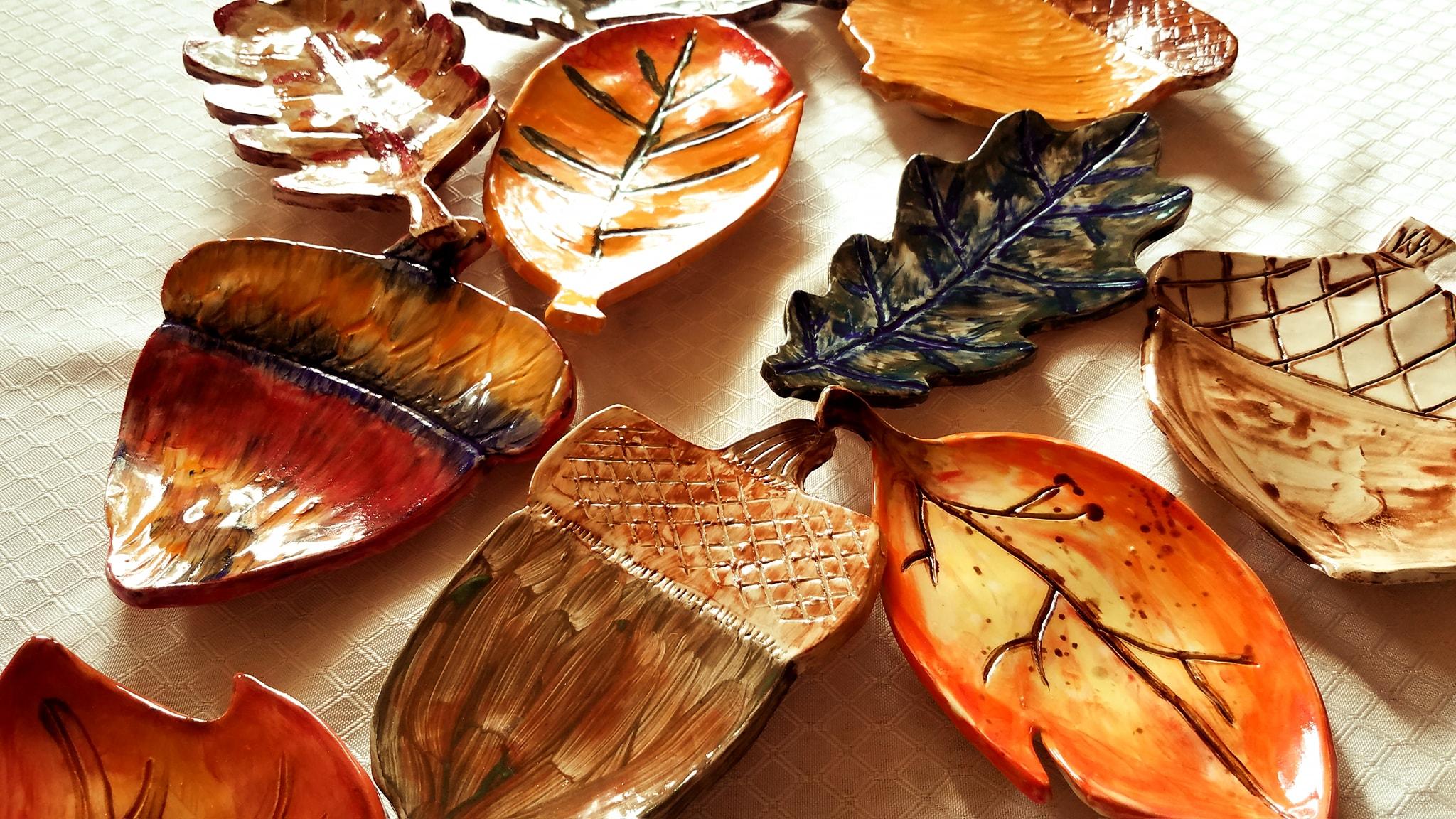 Last year's leaf & acorn dishes!