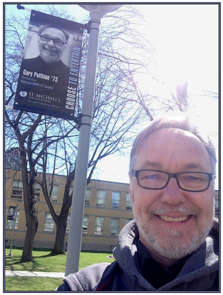 At St. Michael's College School, where a banner celebrates his career with The National Ballet of Canada.