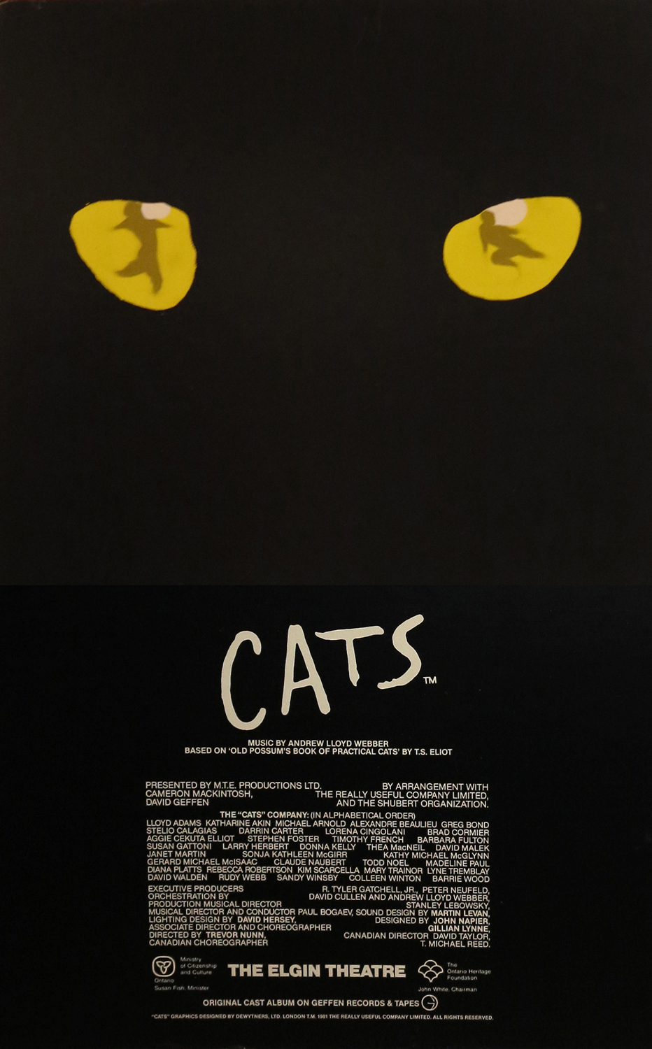 The original Toronto production of 'Cats' at the Elgin Theatre, 1985.