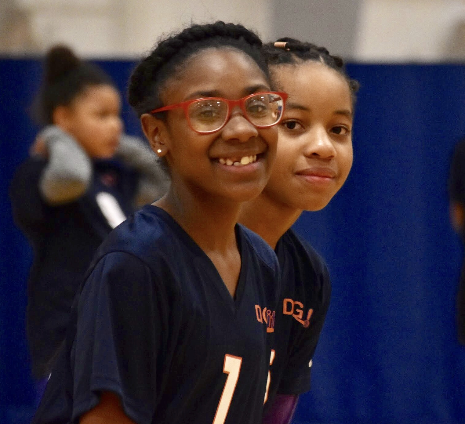 2018 Granneman BGCSTL DIG it! Volleyball players smiling during their matches on Friday, April 6th, 2018.
