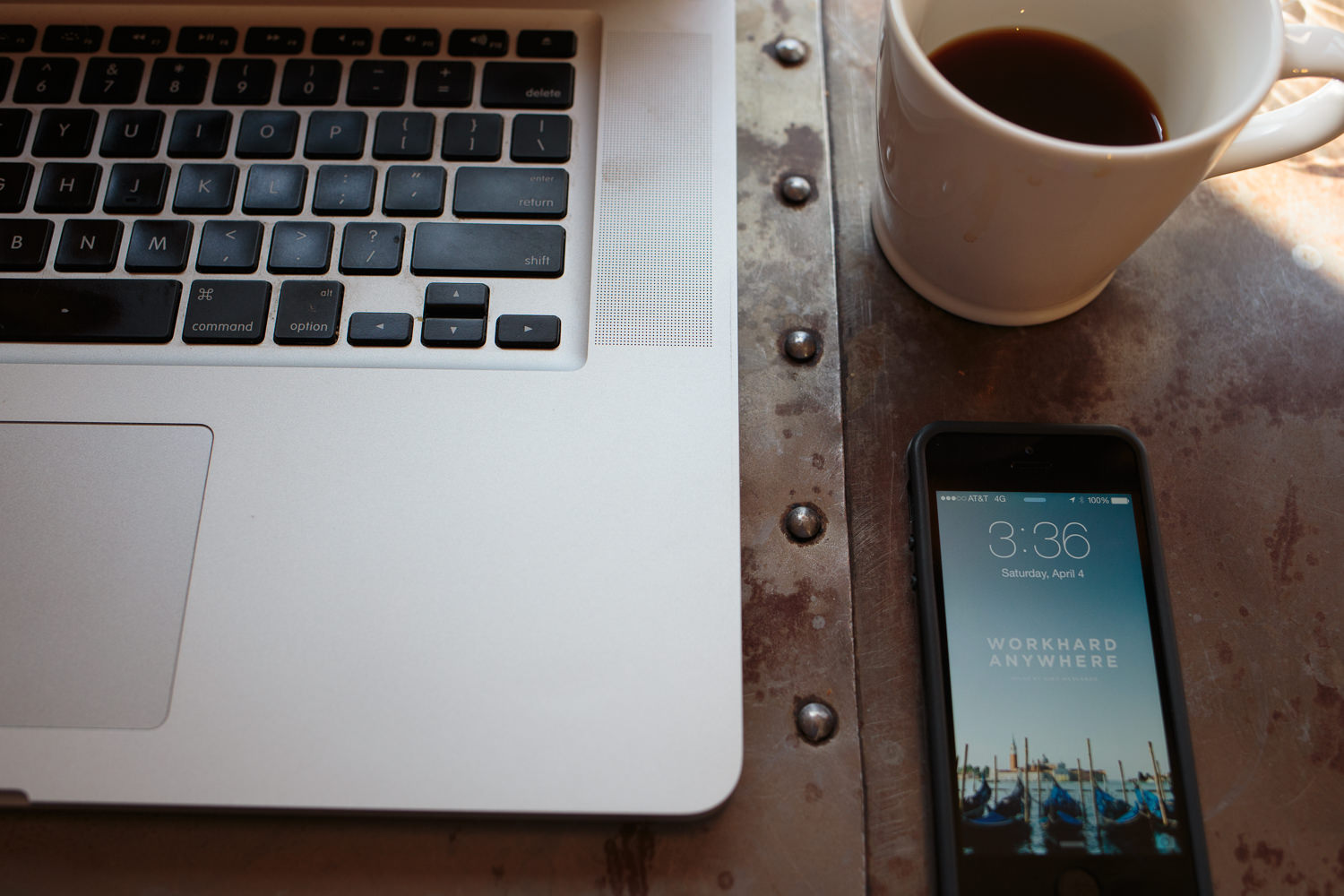 phone and coffee on the table Work Hard Anywhere wallpaper