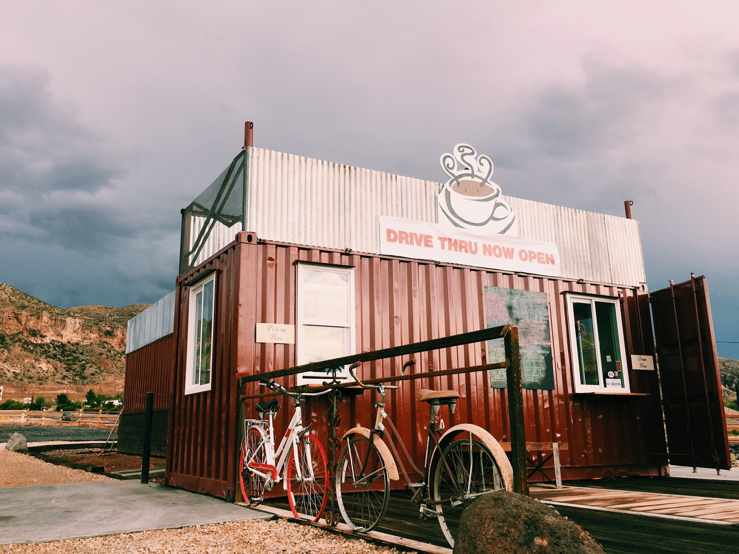river rock roasting company shipping container building coffee drive thru Handsome Wade