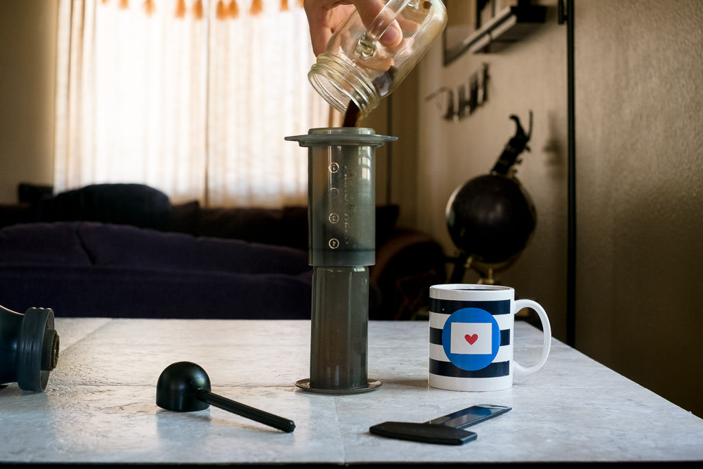 Add grounds to coffee for minimal Aeropress recipe