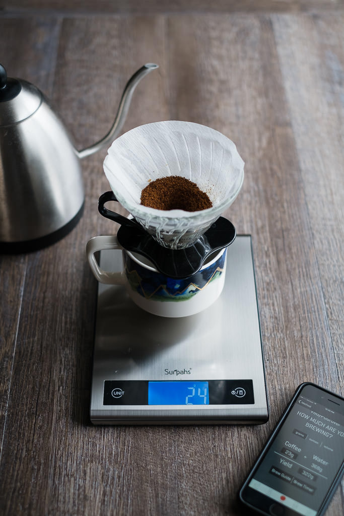 V60 pour over coffee brew method