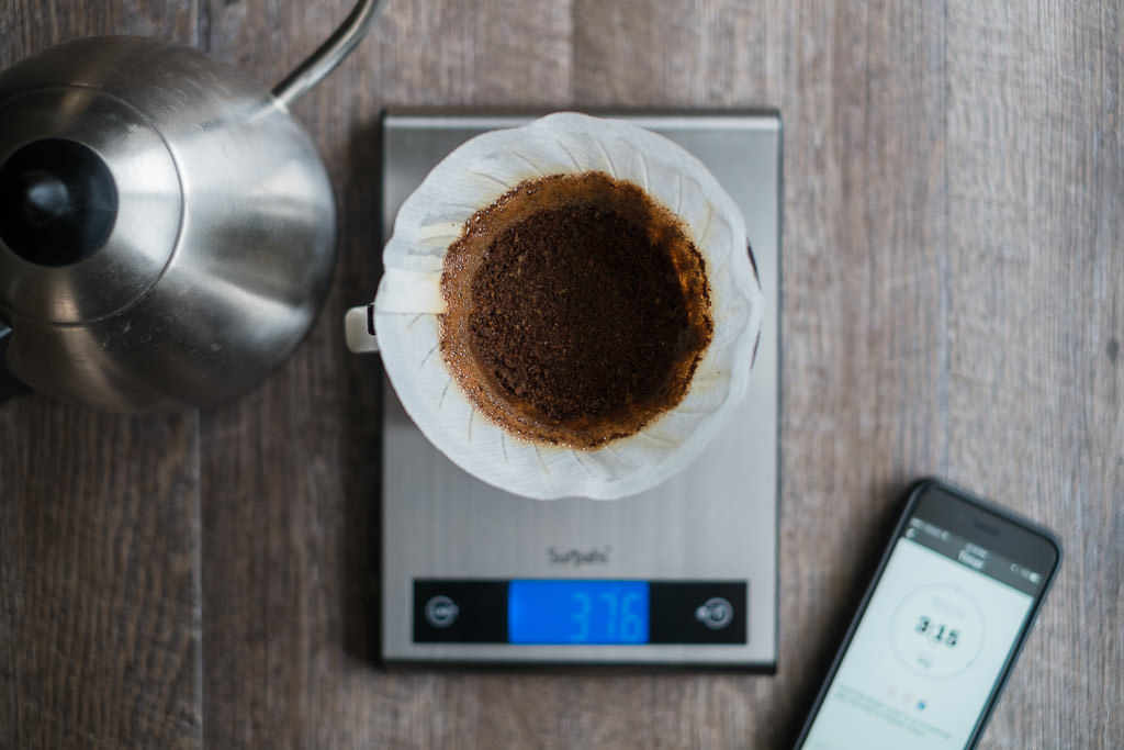 V60 Pour over coffee at the end of brewing
