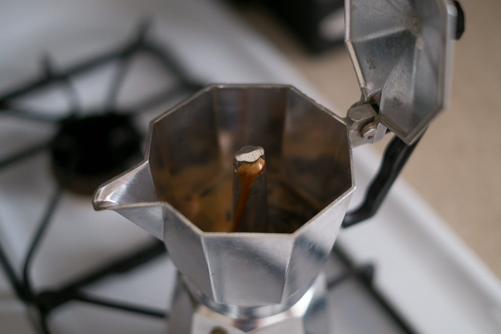 Coffee percolating into upper chamber of Moka Pot