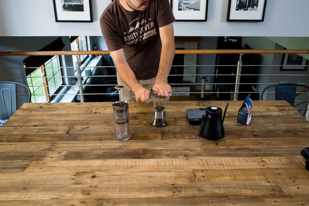 Home brewing coffee using a Handground burr grinder