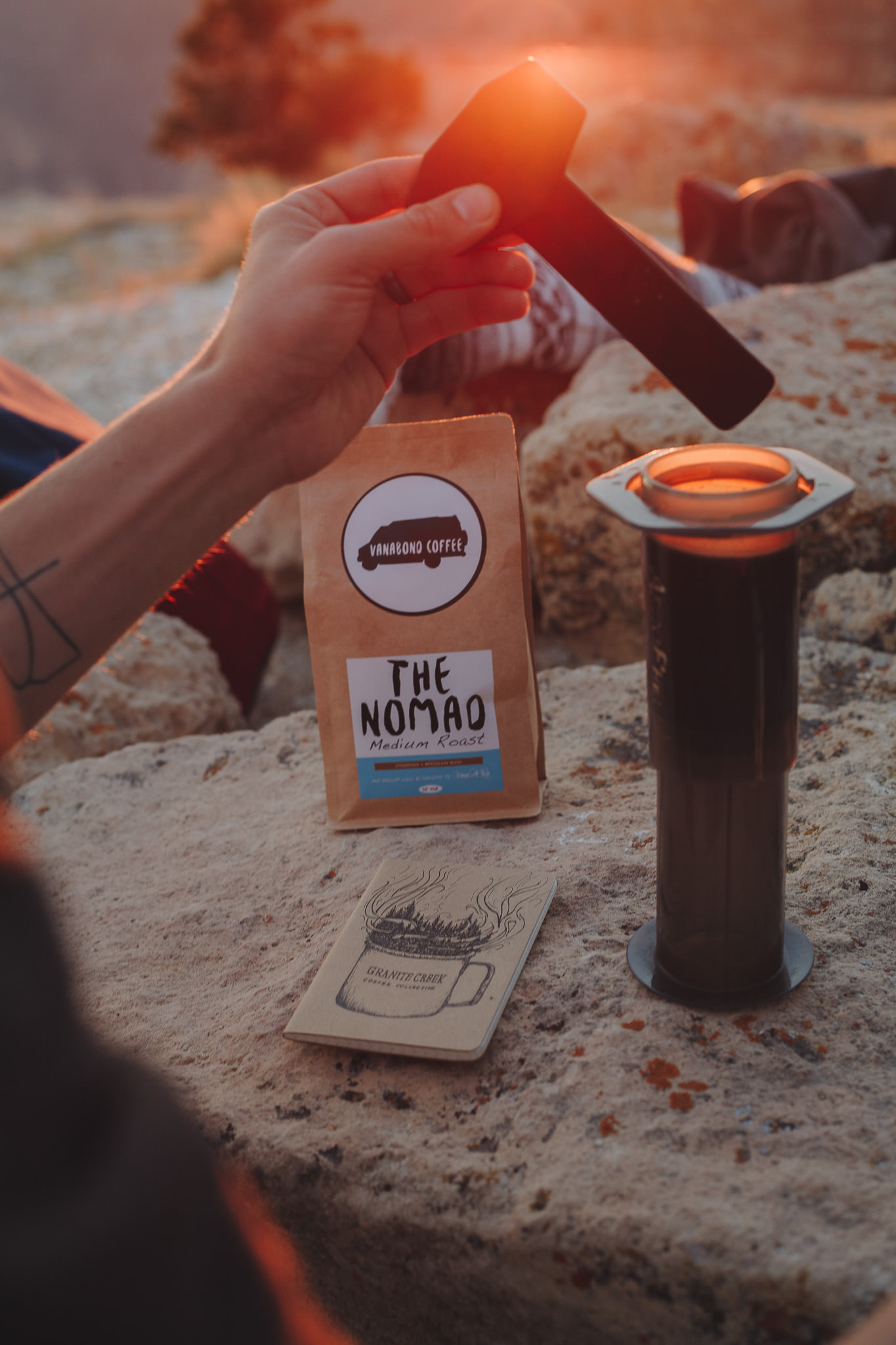 Brewing coffee with an Aeropress at the Grand Canyon