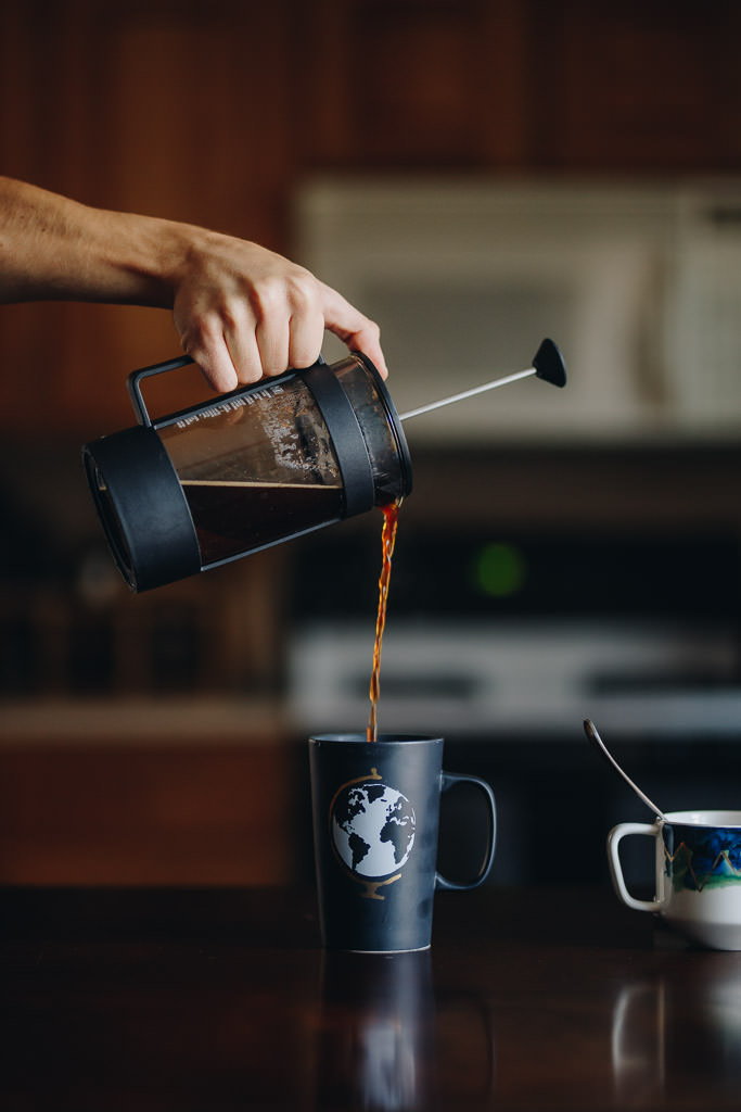 Pour french press gently