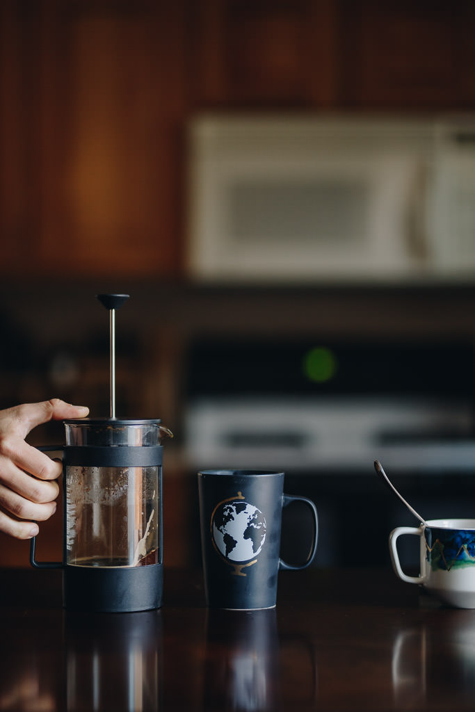 French Press brewed coffee