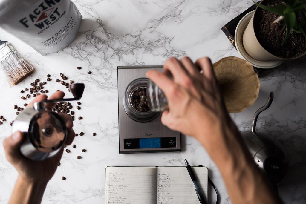 Adding whole bean coffee to handground burr grinder