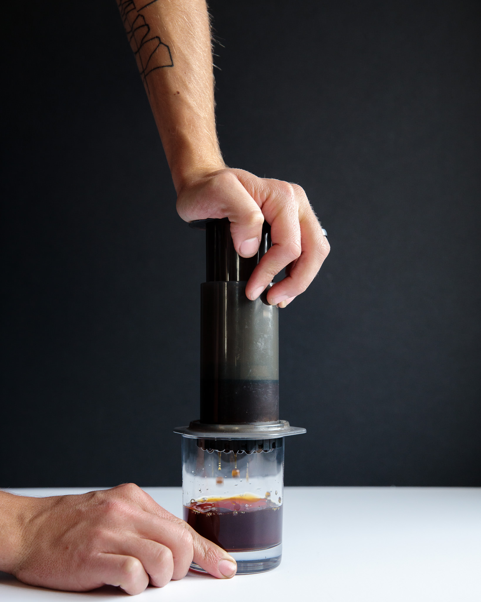 Pressure allows for more efficient extraction in cold brew coffee with an Aeropress