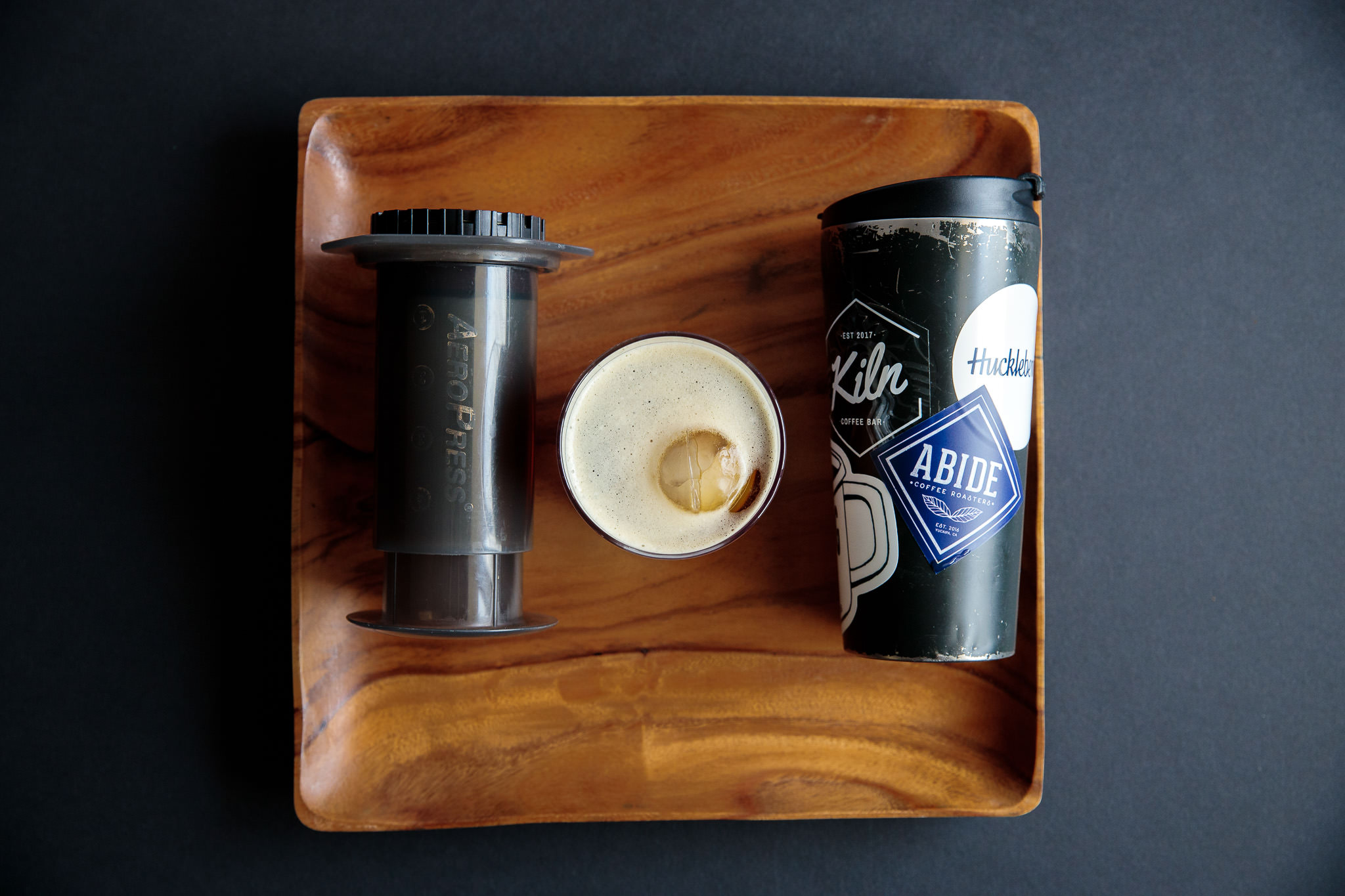 Iced cold brew coffee made in an Aeropress