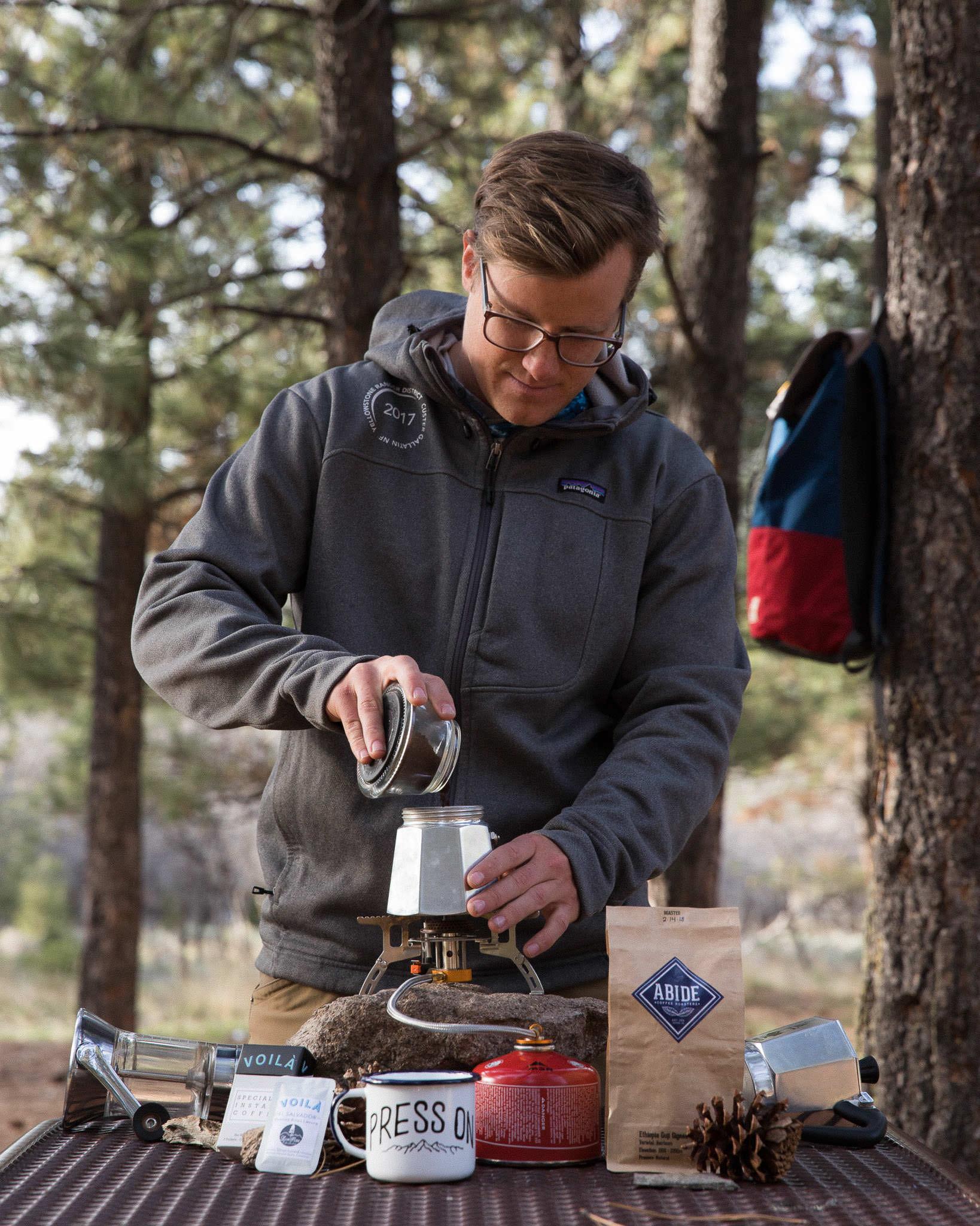 Add finely ground coffee to moka pot filter basket