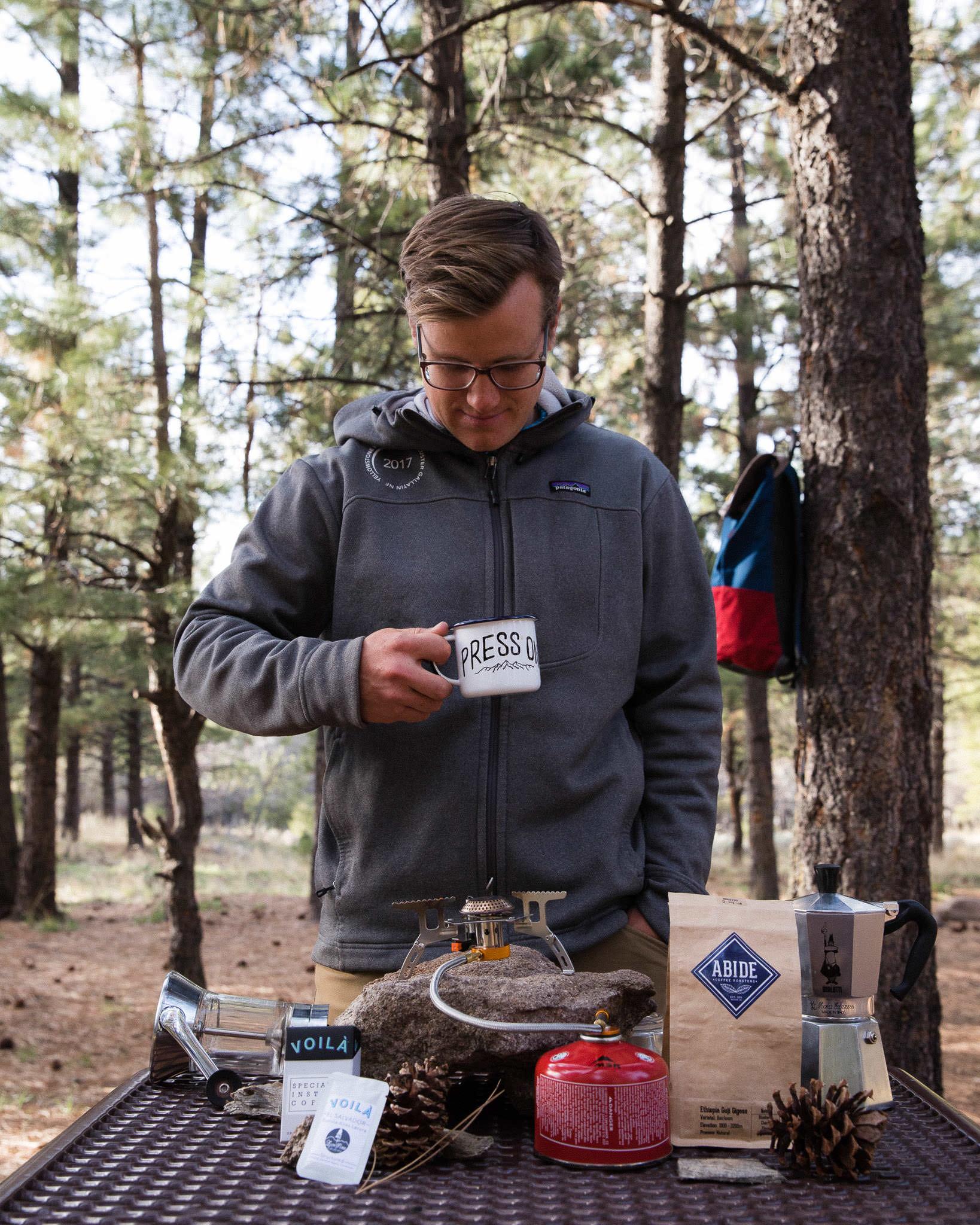 Camp coffee made in a Moka Pot on a butane burner in Pine Valley Utah