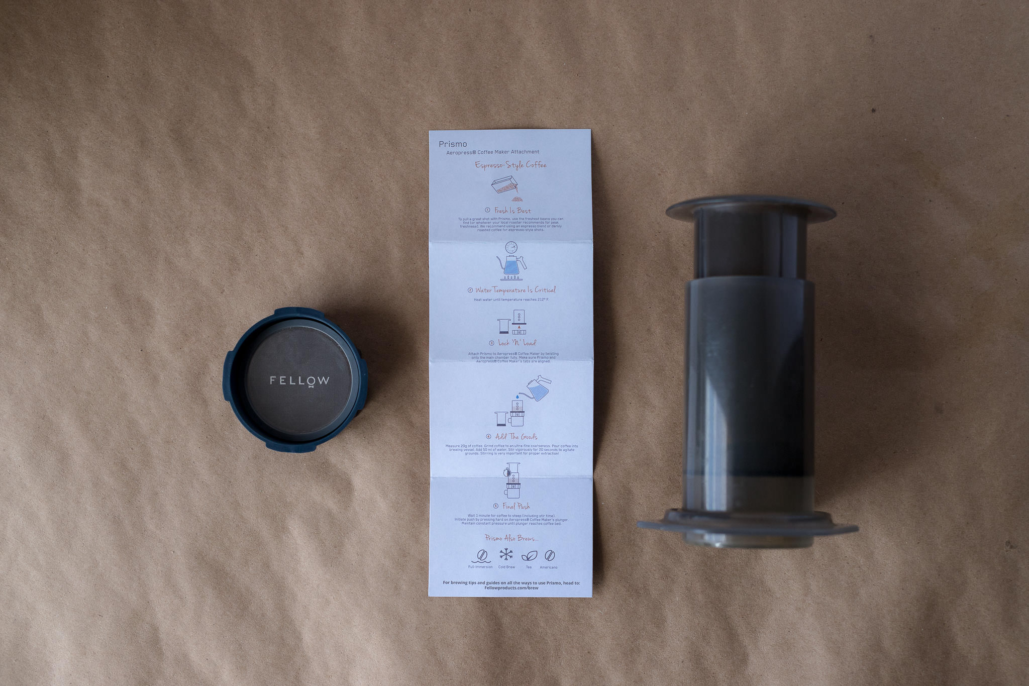 Aeropress and Fellow Prismo with included espresso brew guide
