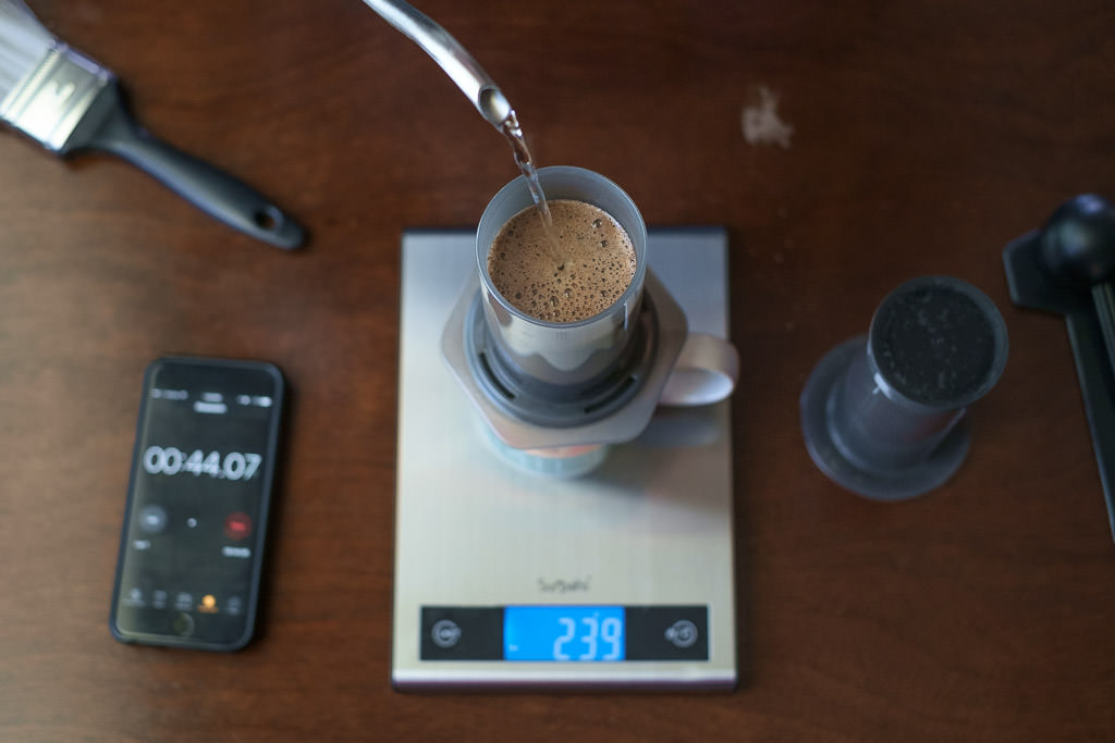 Brew delicious dark roasted coffee with the Aeropress coffeemaker