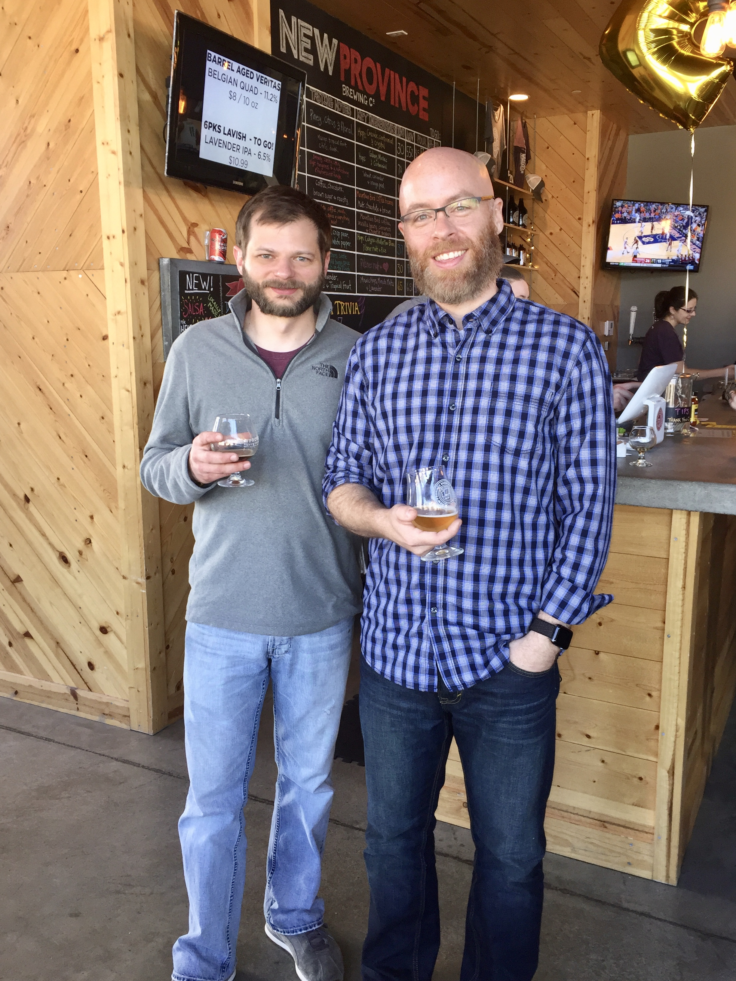 """That's New Province head brewer Kort Castleberry on the left and me on the right. I call this picture, """"Battle of the Beards."""" I have since shaved, Kort has not. Has anyone ever seen him without a beard? What's he hiding under there?"""